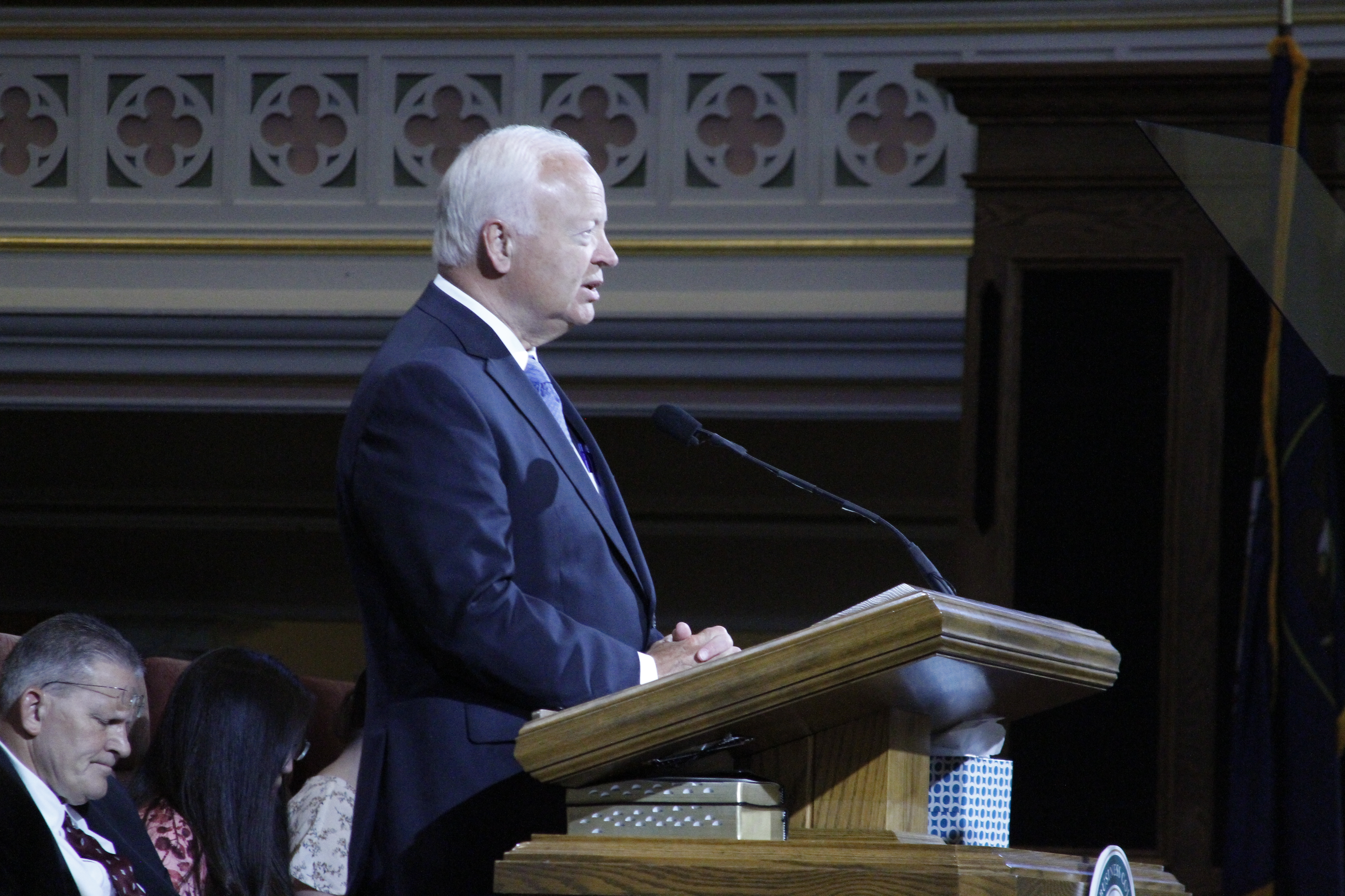 Elder Kent F. Richards, emeritus General Authority Seventy, speaks to LDSBC students in a devotional address on Tuesday, June 11, 2019.