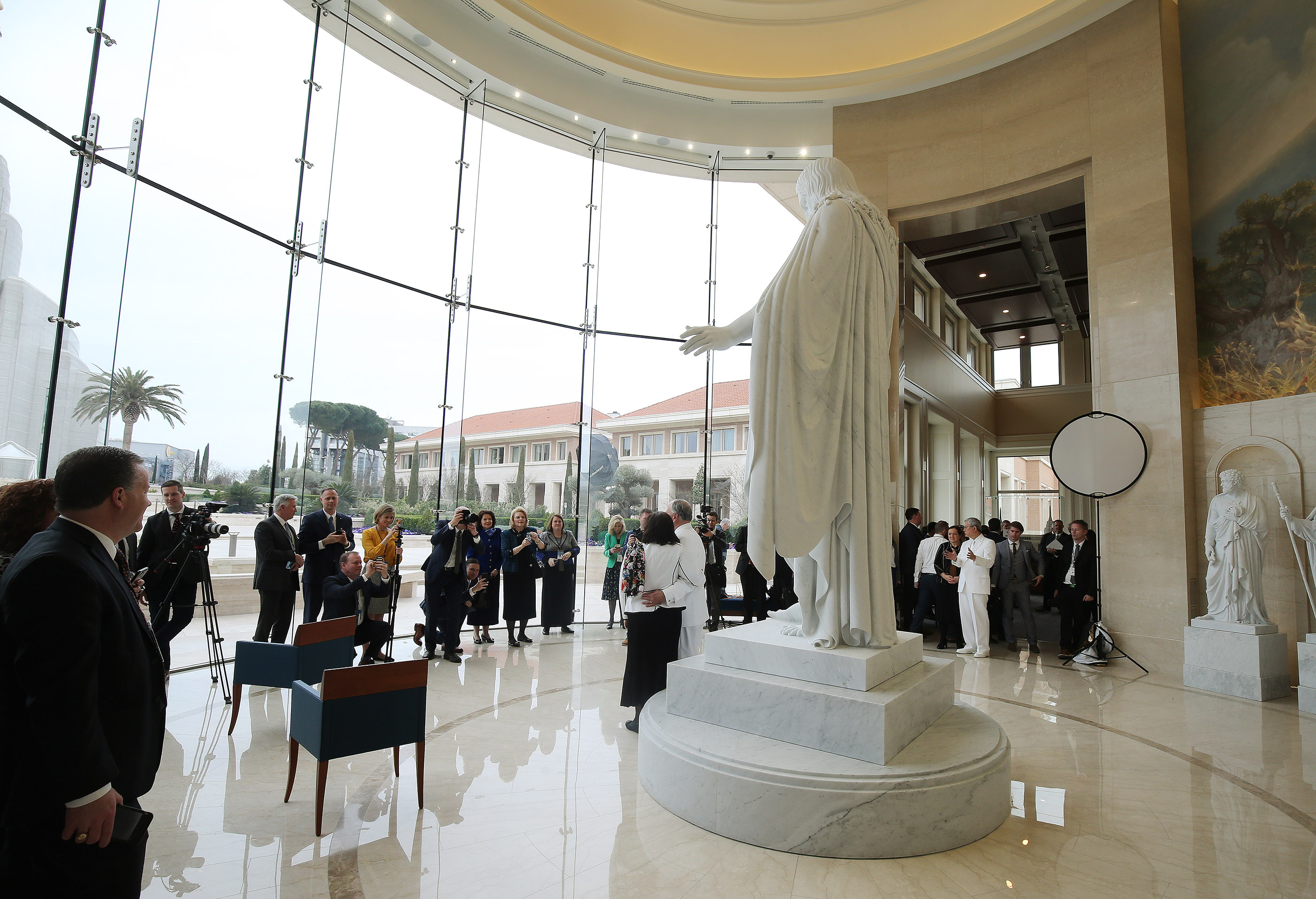 Photographs are taken of members of the First Presidency and the Quorum of the Twelve Apostles of The Church of Jesus Christ of Latter-day Saints in the Rome Italy Temple visitors' center in Rome, Italy on Monday, March 11, 2019.