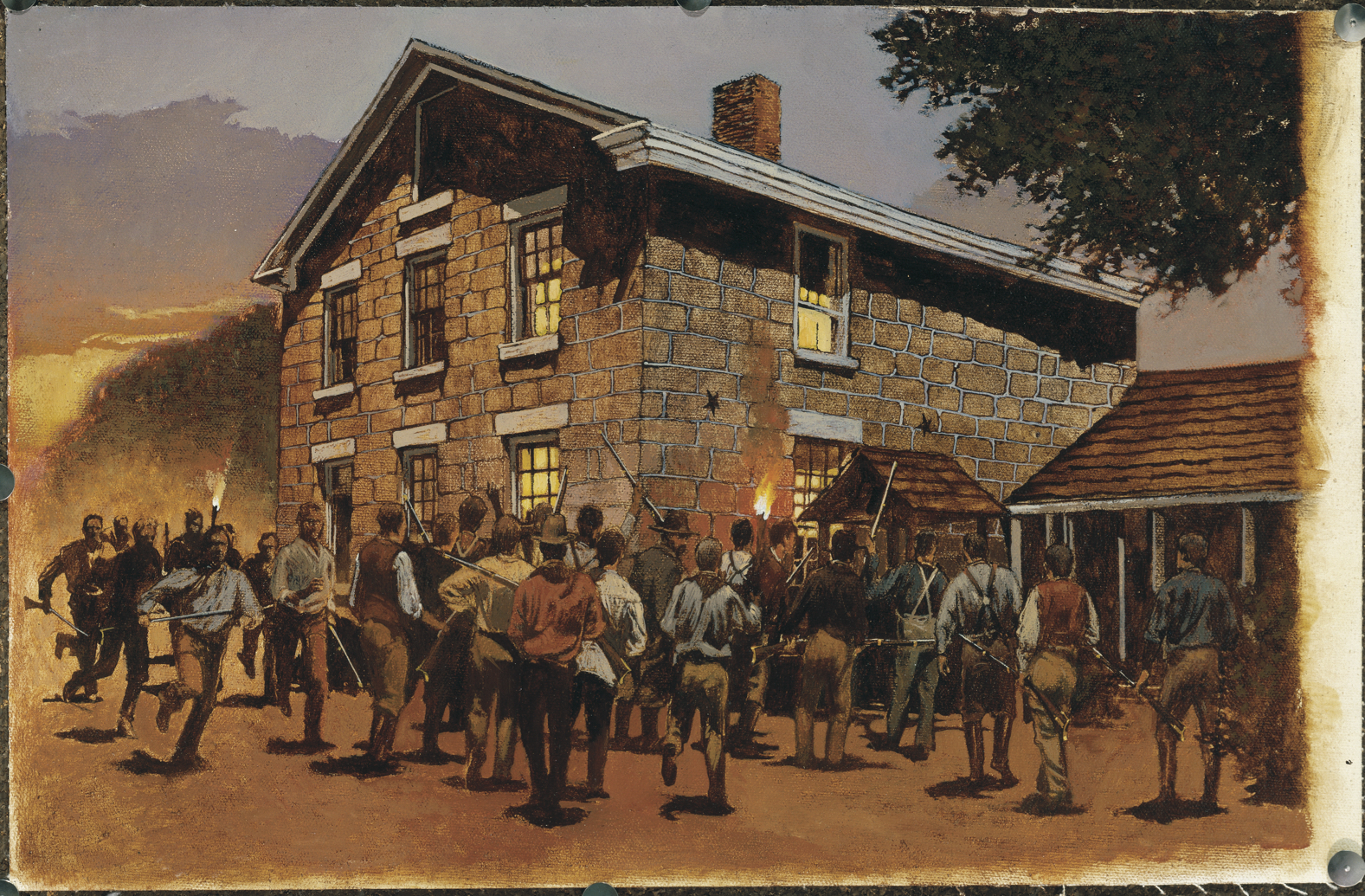 A painting of the Carthage jail exterior with the mob approaching.