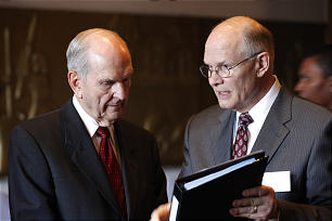 Then-Elder Russell M. Nelson of the Quorum of the Twelve Apostles, left, meets with Elder Dale G. Renlund, then of the Seventy and president of the Africa Southeast Area.