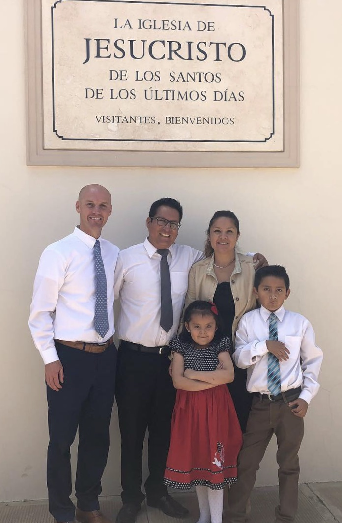 Scott Mortensen (left) with Freddy Bernal and his family. Mortensen reacquainted with Freddy in October, some 20 years after teaching Freddy as a teen while serving his mission in Bolivia.