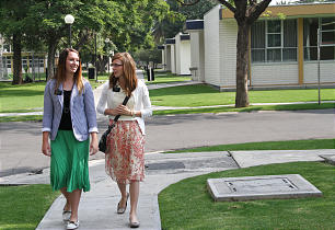 Sister Chalese Johnson of Ogden, Utah, and her companion, Sister Rebecca Newman of Elk Ridge, Utah, walk back to their dorm room at the Mexico City MTC.