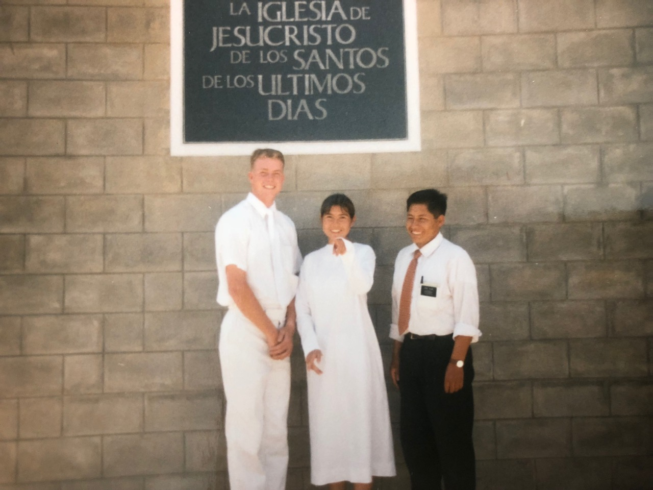 Davis Smith and his companion Elder Alberto Quispe with Giovanna, a member he taught during his time near Cochabamba 20 years ago. Giovanna was baptized a few weeks after her brother Mauricio.