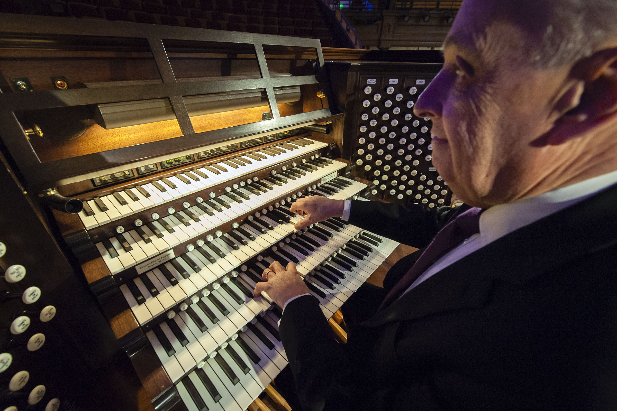 Clay Christiansen, the Tabernacle organist, sits at the organ inside of the Tabernacle on Temple Square in Salt Lake City on Monday, April 9, 2018.