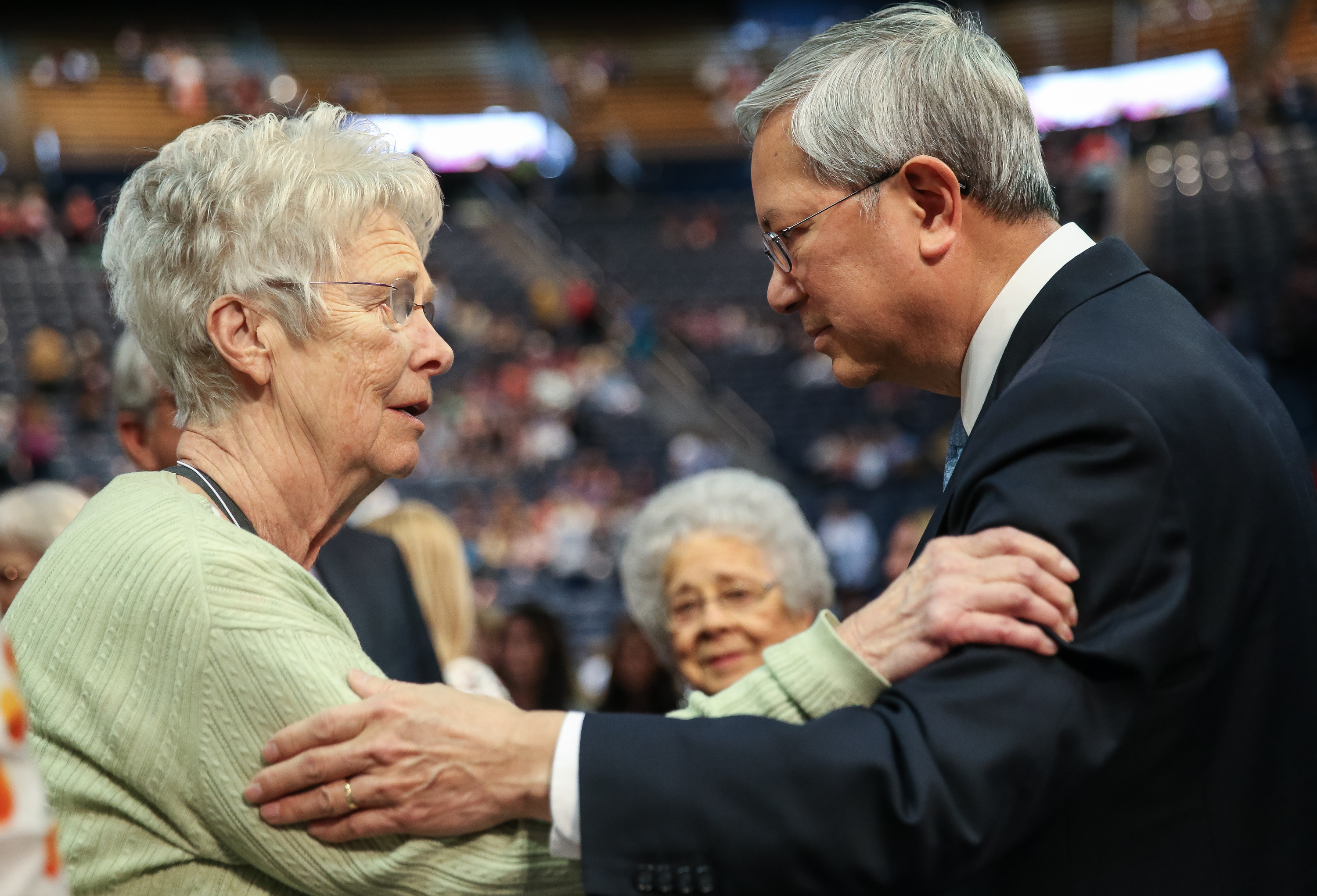 Elder Gerrit W. Gong, of the Quorum of the Twelve Apostles of the LDS Church, greets Ann Madsen, of Provo, after Gong spoke at the BYU Women's Conference at the Marriott Center in Provo on Friday, May 4, 2018.