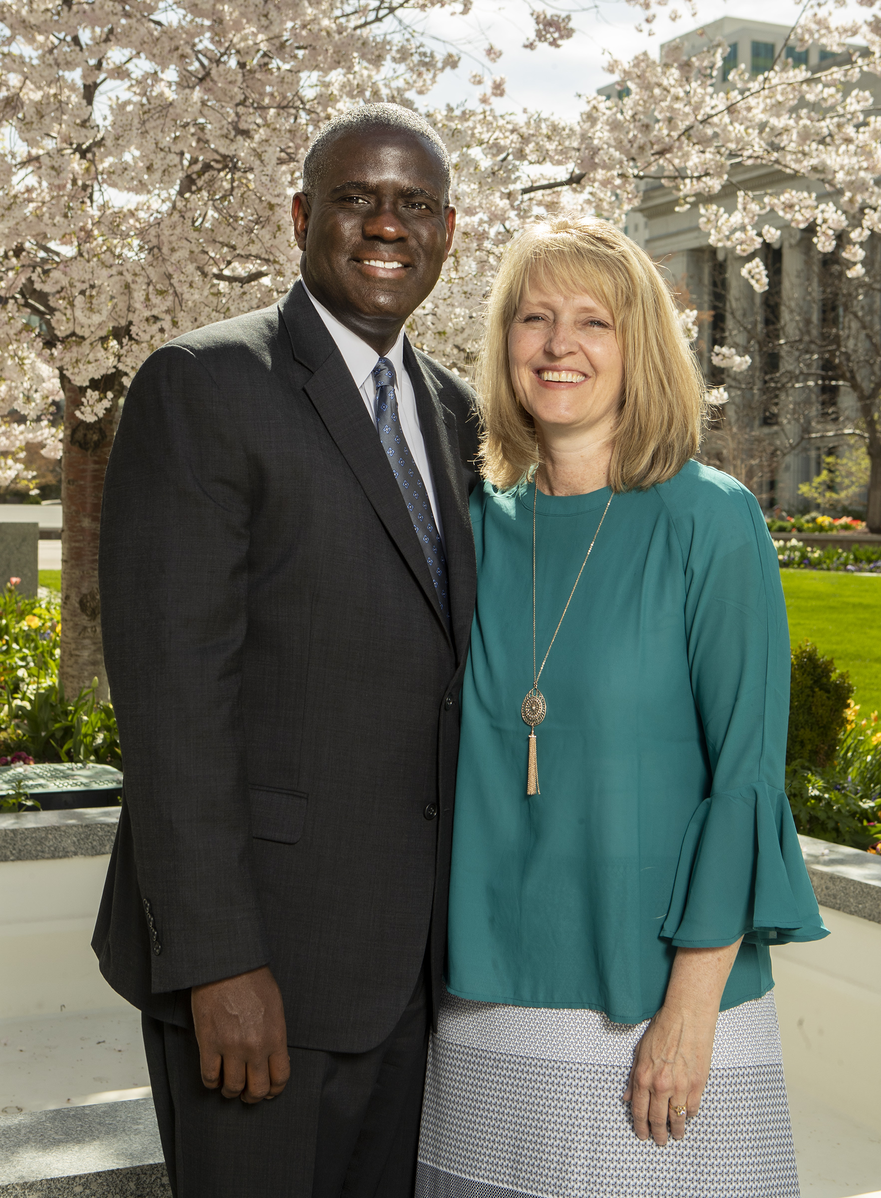 Elder Peter M. Johnson and his wife, Sister Stephanie Lyn Johnson, pose for photos at the Church Office Building in Salt Lake City on Monday, April 8, 2019. Elder Johnson was called be a General Authority Seventy in April general conference.