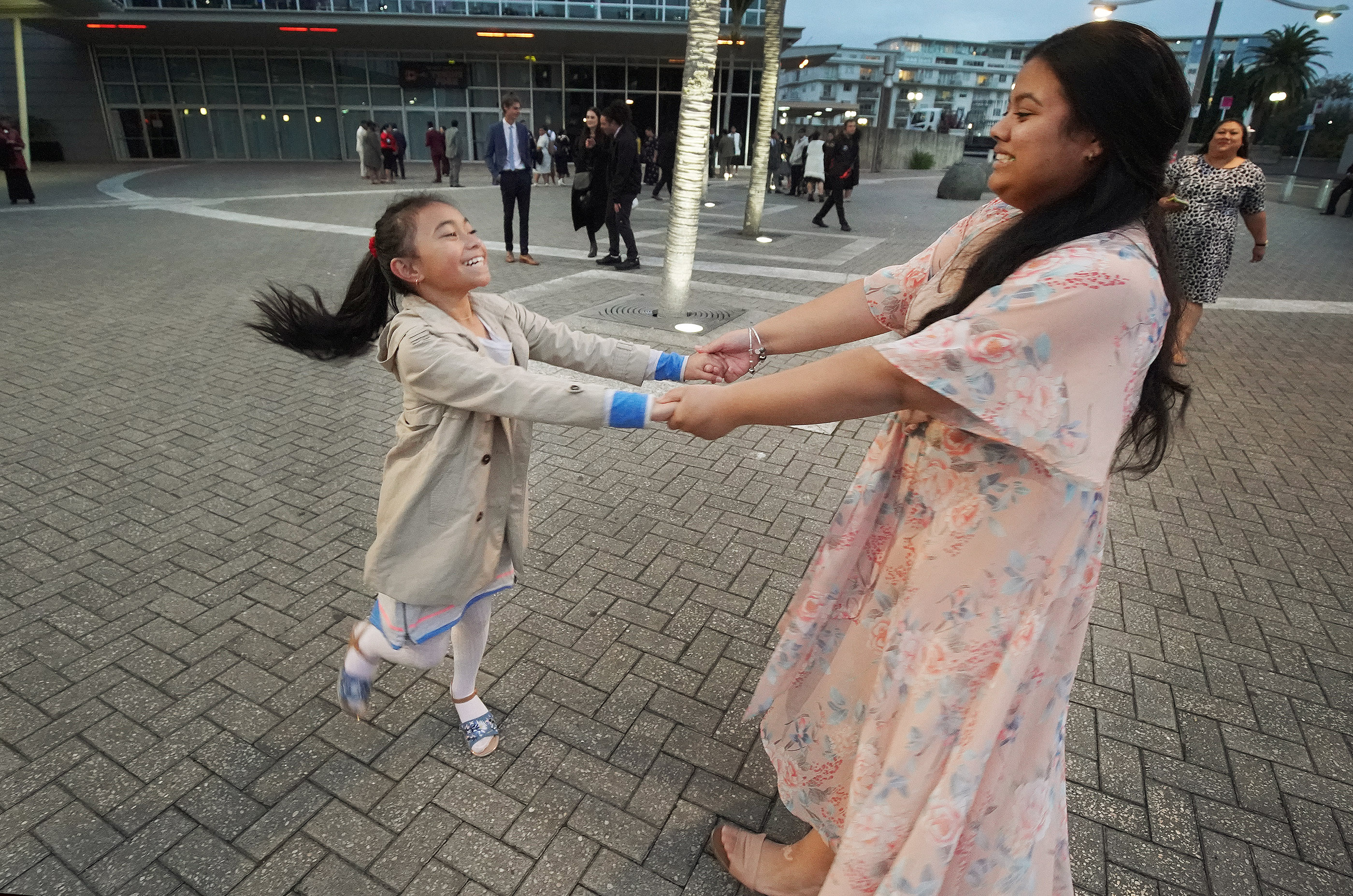 Chunte Joseph, right, dances with Jahrian Siliva prior to a devotional with President Russell M. Nelson of The Church of Jesus Christ of Latter-day Saints in Auckland, New Zealand, on May 21, 2019.
