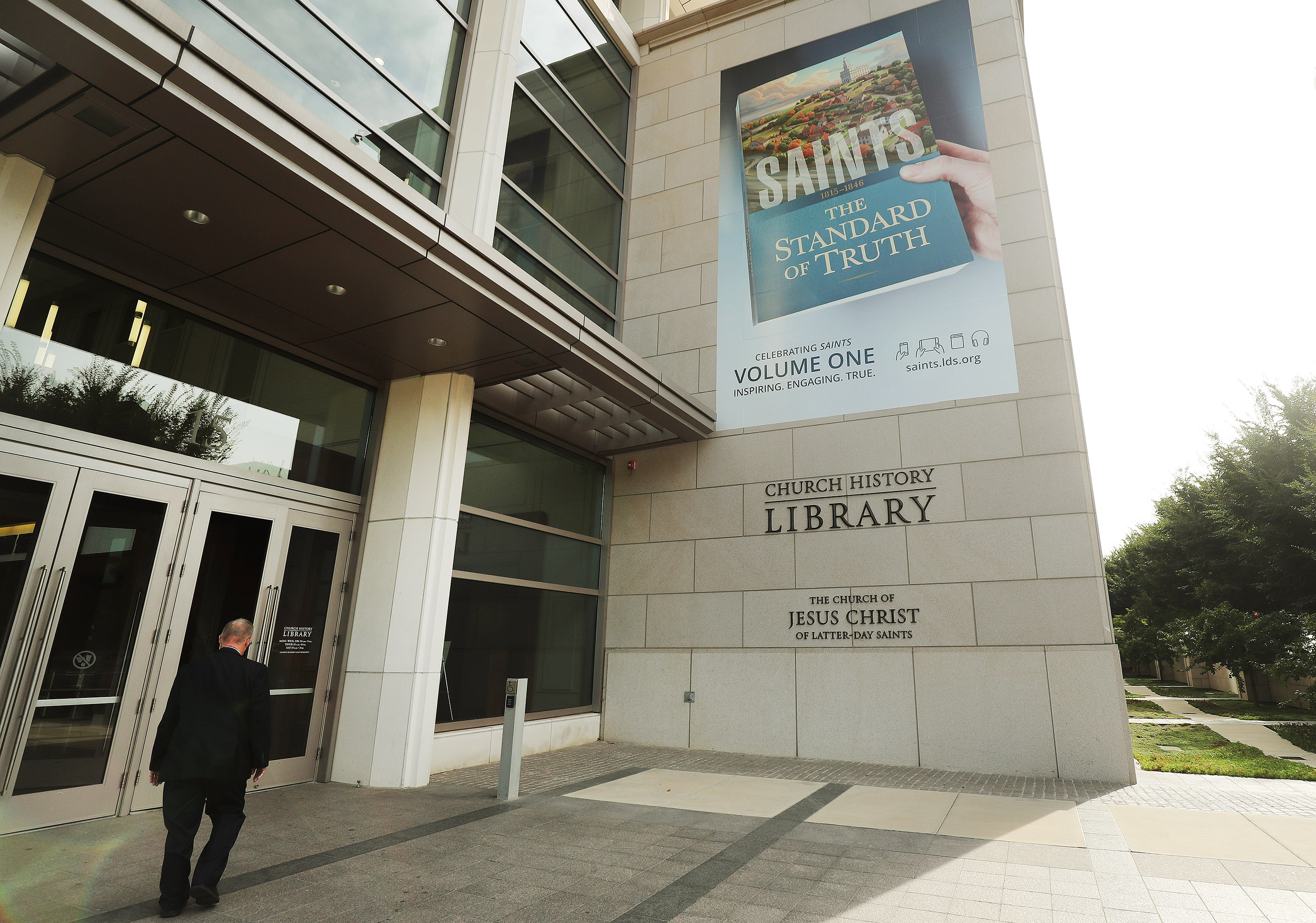 """A banner is displayed at the Church History Library announcing the book, """"Saints: The Story of the Church of Jesus Christ in the Latter Days,"""" in Salt Lake City on Tuesday, Sept. 4, 2018."""
