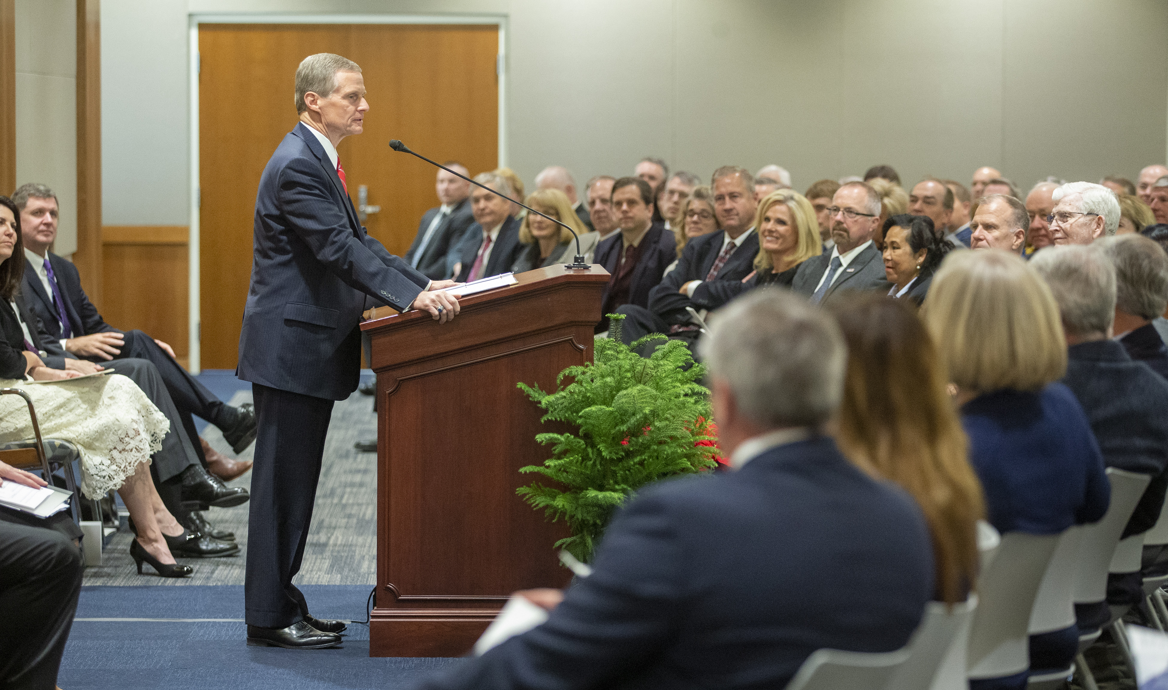 Elder David A. Bednar of the Quorum of the Twelve Apostles talks to the audience prior to delivering the dedicatory prayer for the new Engineering Building at BYU in Provo on Tuesday, Dec. 4, 2018.