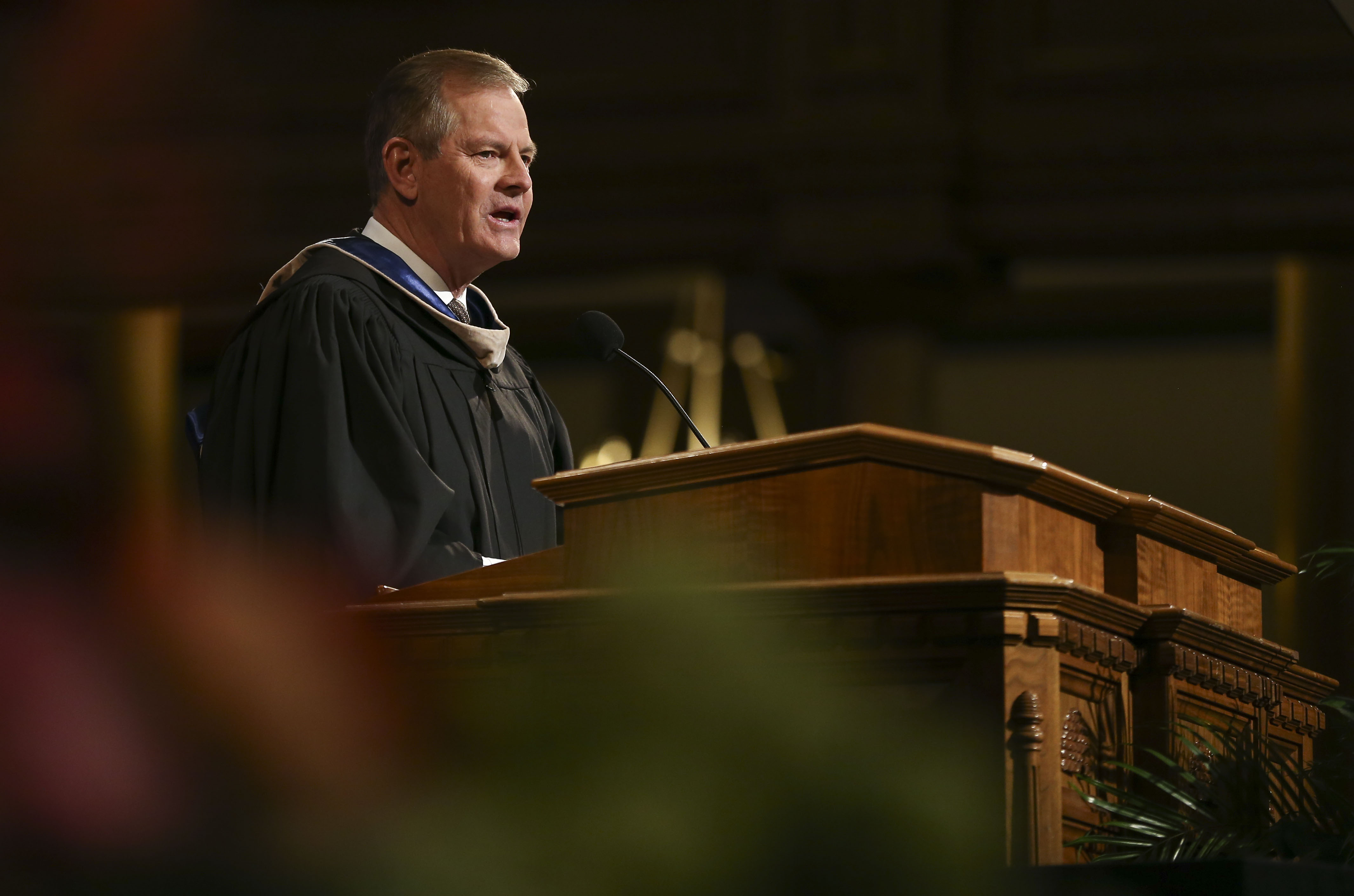 Elder Gary E. Stevenson of the Quorum of the Twelve Apostles speaks during the commencement ceremony for LDS Business College at the Tabernacle on Temple Square in Salt Lake City on Friday, April 12, 2019.