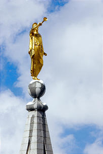The Angel Moroni atop the Salt Lake Temple is graced with a touch of snow as seen from the Joseph Smith Memorial Building in Salt Lake City, Utah. The statue, created by sculptor Cyrus E. Dallin, is recognized as one of the artist's best known works of art.