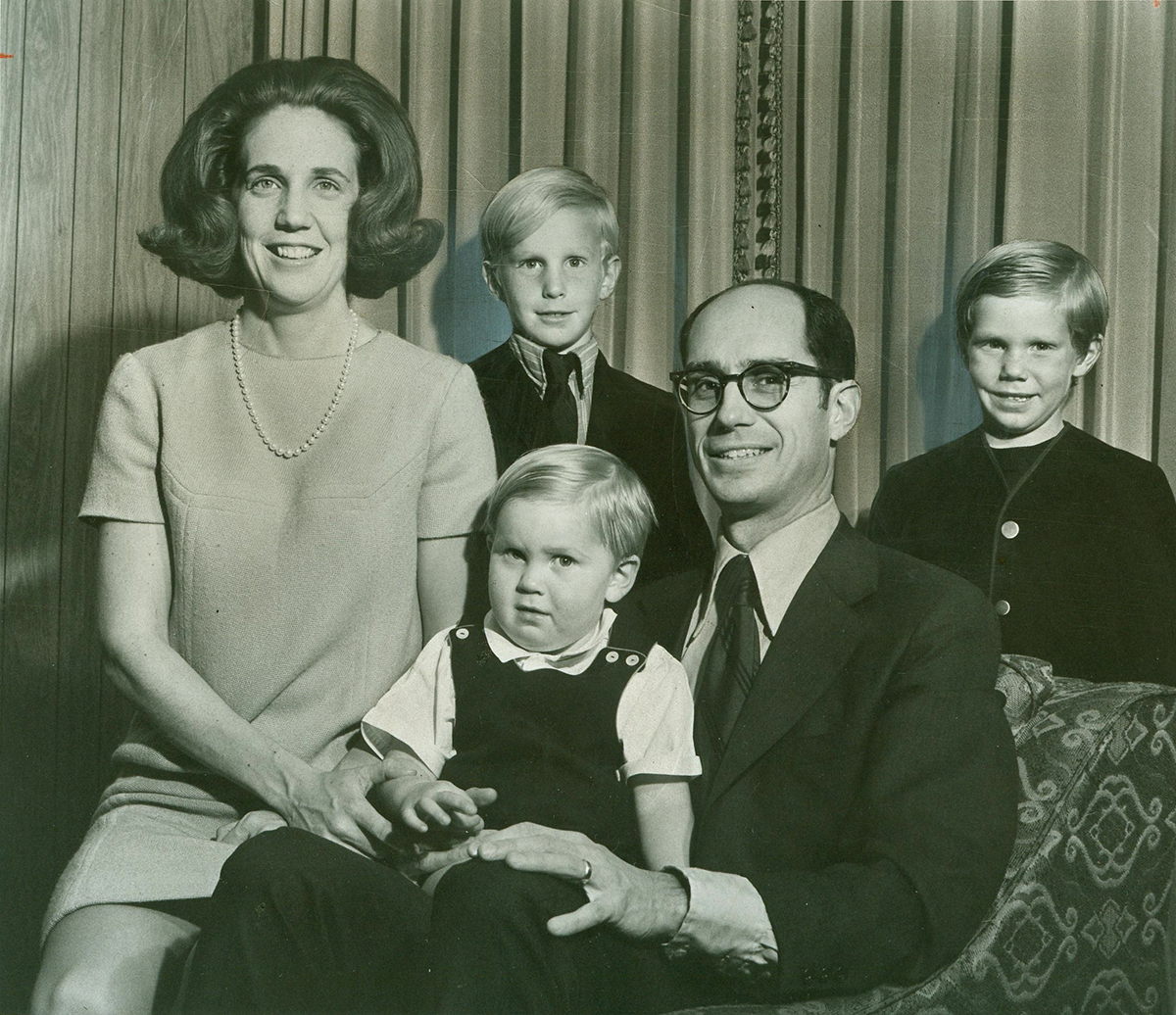 Dr. Henry B. Eyring and his wife, Kathleen, and their family before his inauguration as president of Ricks College. Their sons are Matthew, front, Henry and Stuart.