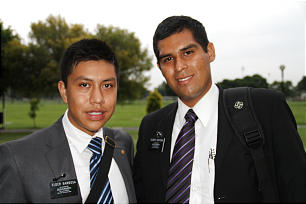 Elder Brandon Barbosa of Puelba, Mexico, and his companion, Elder Jesus Ortega of Tampico, Mexico, are among the 100 Mexican nationals studying at the Mexico City MTC.