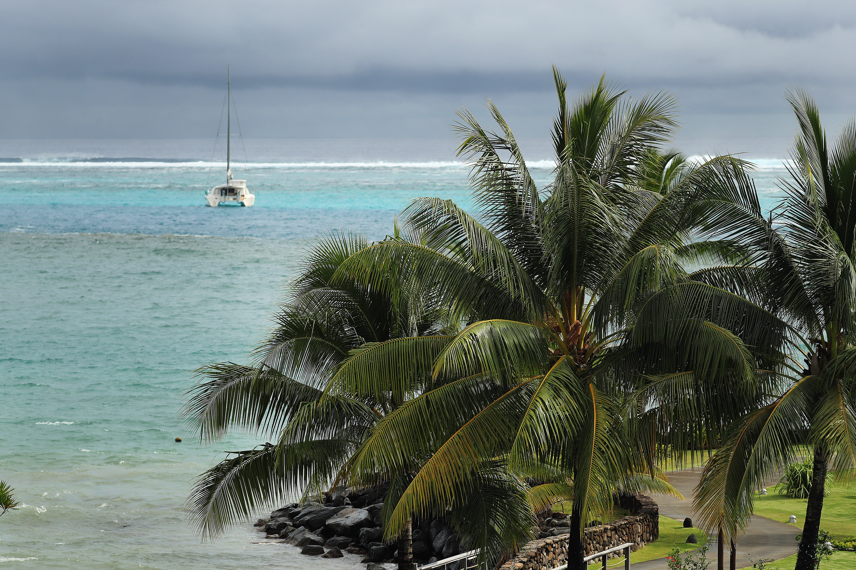 A boat is anchored in Papeete, Tahiti, on May 23, 2019.