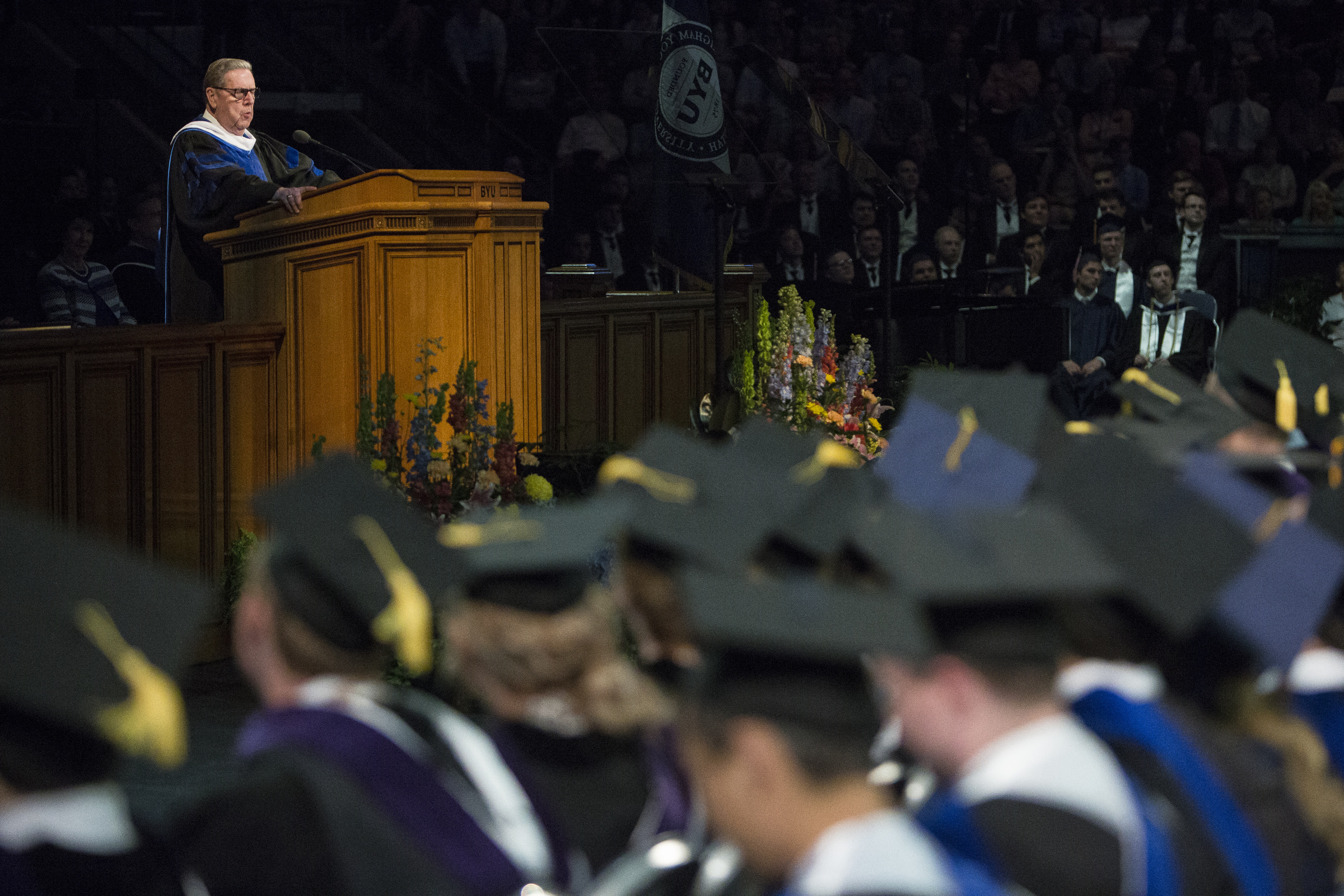Elder Jeffrey R. Holland of the Quorum of the Twelve Apostles delivers the commencement address during Brigham Young University's commencement ceremony in the Marriott Center on Thursday, April 26, 2018, in Provo. BYU is awarding nearly 6,300 degrees to graduates this week.