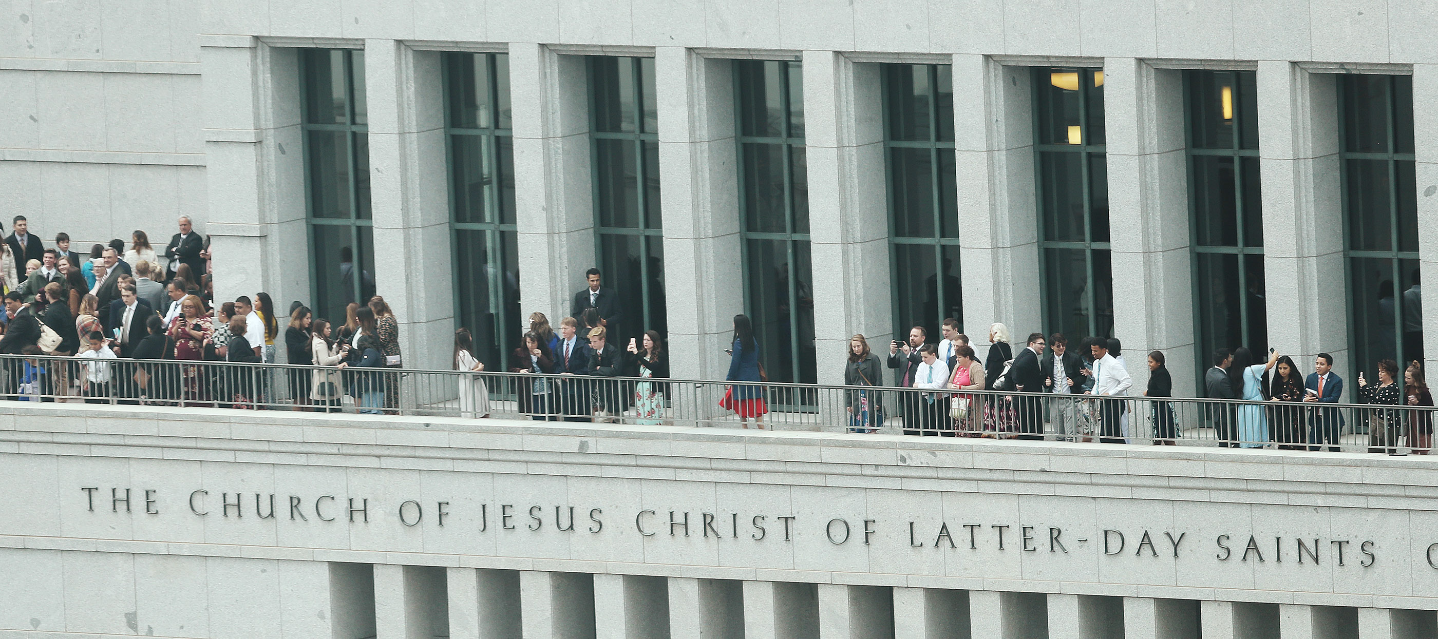Attendees leave the 188th Semiannual General Conference of The Church of Jesus Christ of Latter-day Saints in Salt Lake City on Saturday, Oct. 6, 2018.