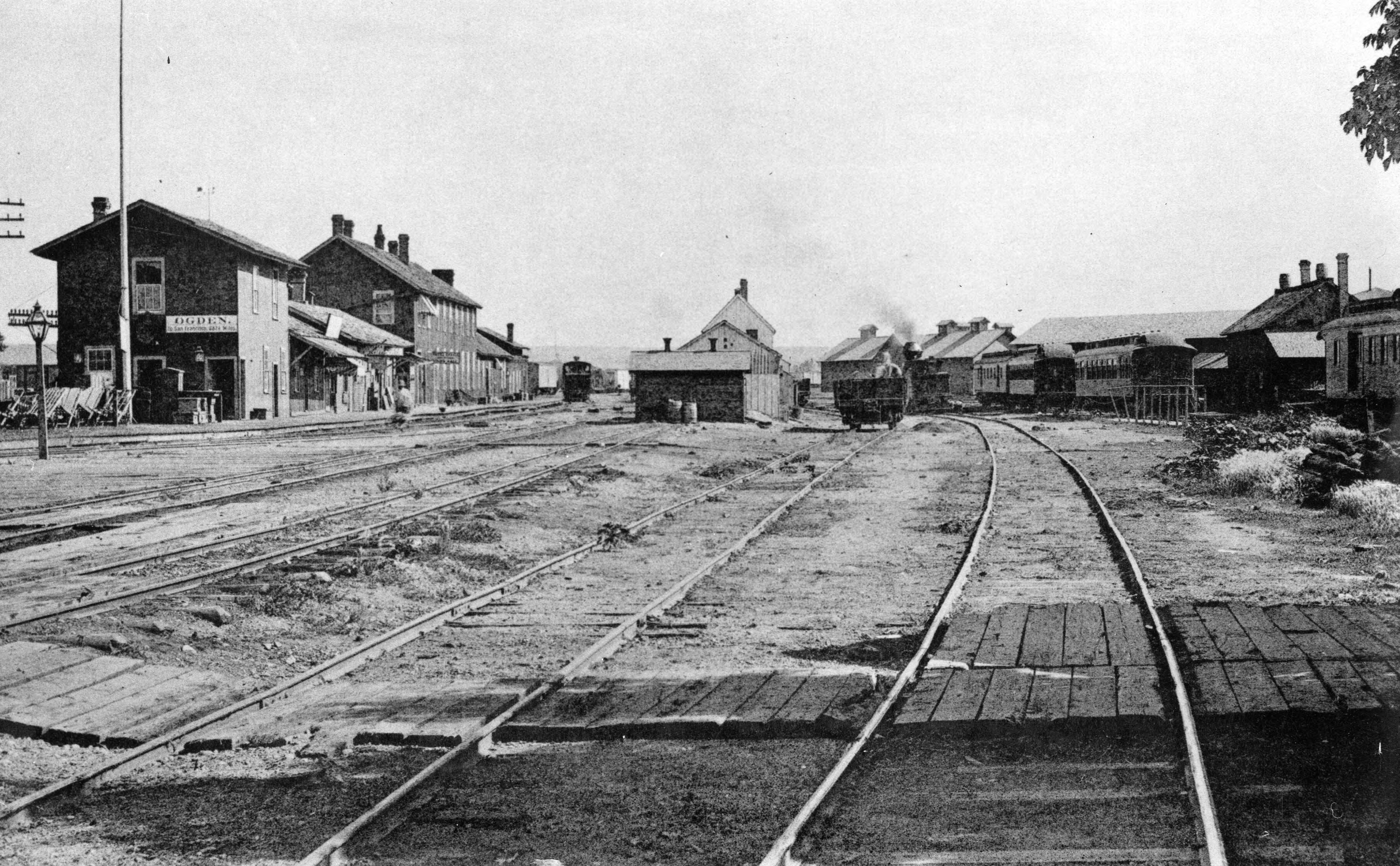 The Union Depot railroad yards in Ogden, Utah, are photographed in 1896.