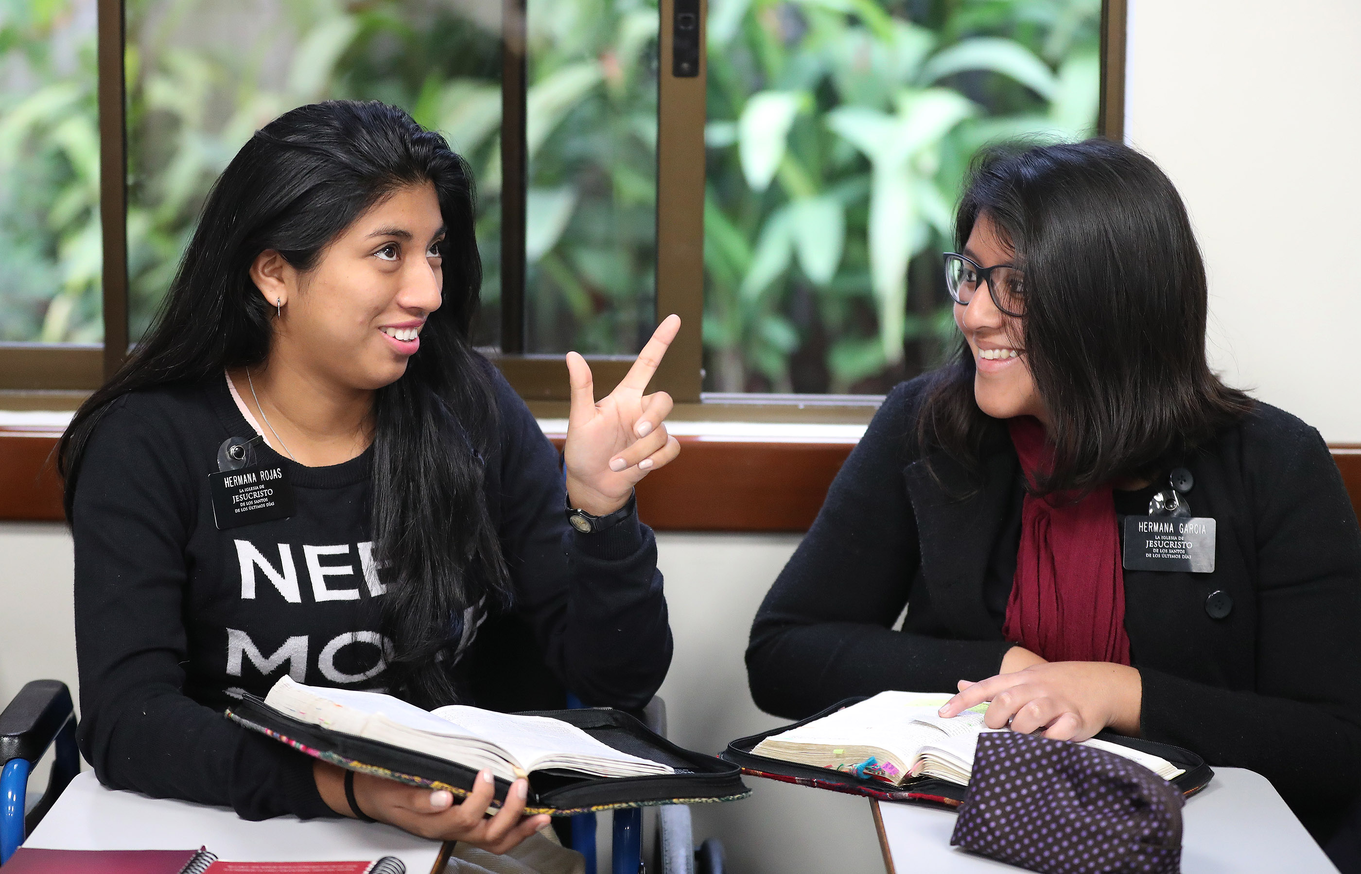 Sisters Jackeline Rojas and Valeria Garcia study at the Peru Missionary Training Center in Lima, Peru on Friday, Oct. 19, 2018.