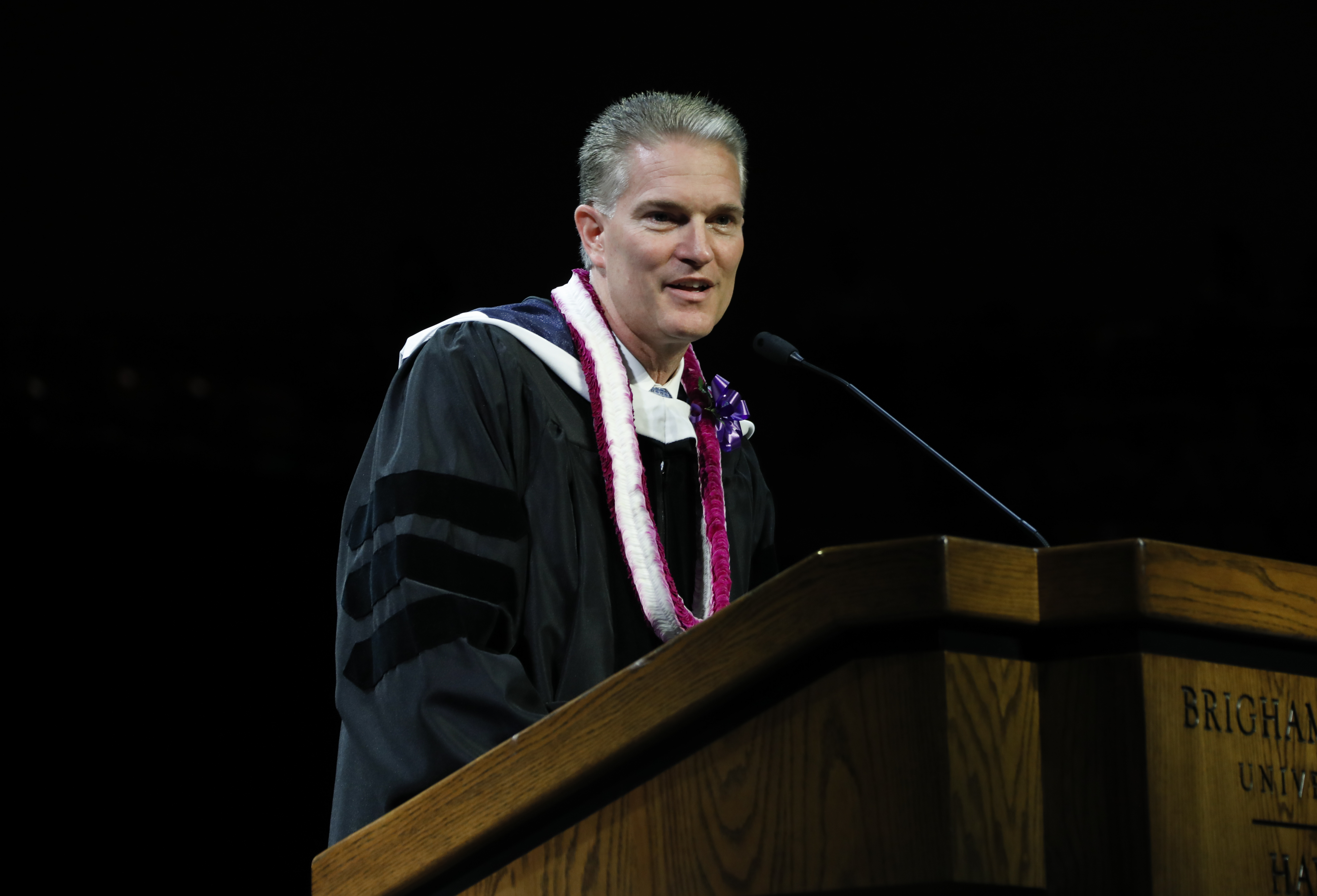 Elder Brian K. Taylor, a General Authority Seventy, speaks to graduating students at the Brigham Young University-Hawaii Commencement on June 29, 2019.