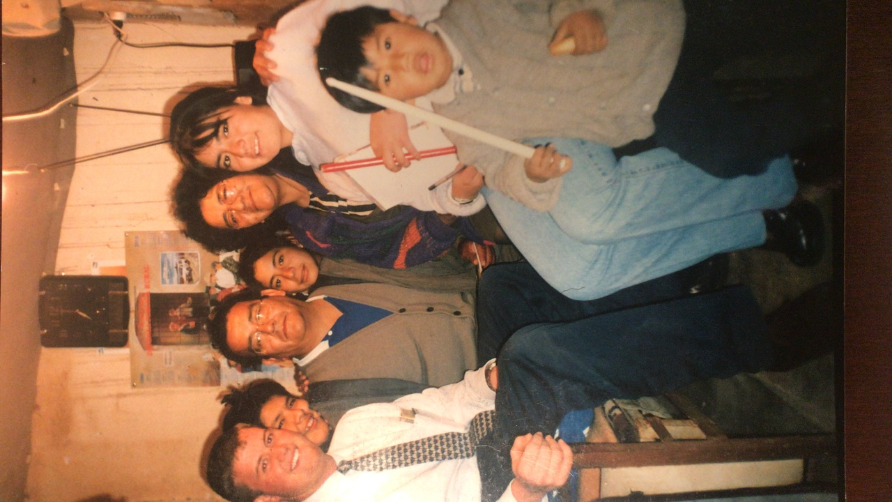 Celestino Orellana (center) and his family with Tommy Upshaw (left) at their home in Tupiza in 1999.