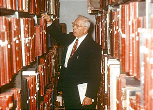 Joseph Fielding Smith served as head of the Church Historian's office from 1921 to 1970. Here he searches the archives.