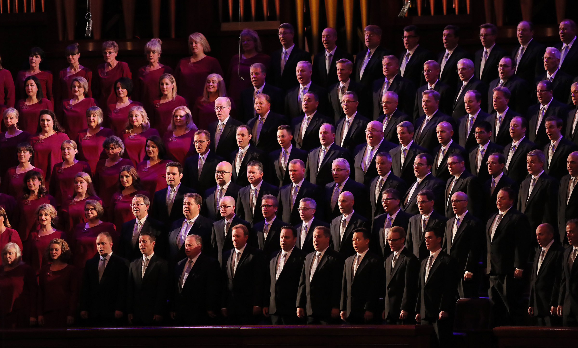 """Members of the Mormon Tabernacle Choir perform their annual Pioneer Concert at the Conference Center in Salt Lake City with guest performers Matthew Morrison, Laura Michelle Kelly and narrator Oscar """"Andy"""" Hammerstein III on Friday, July 20, 2018."""