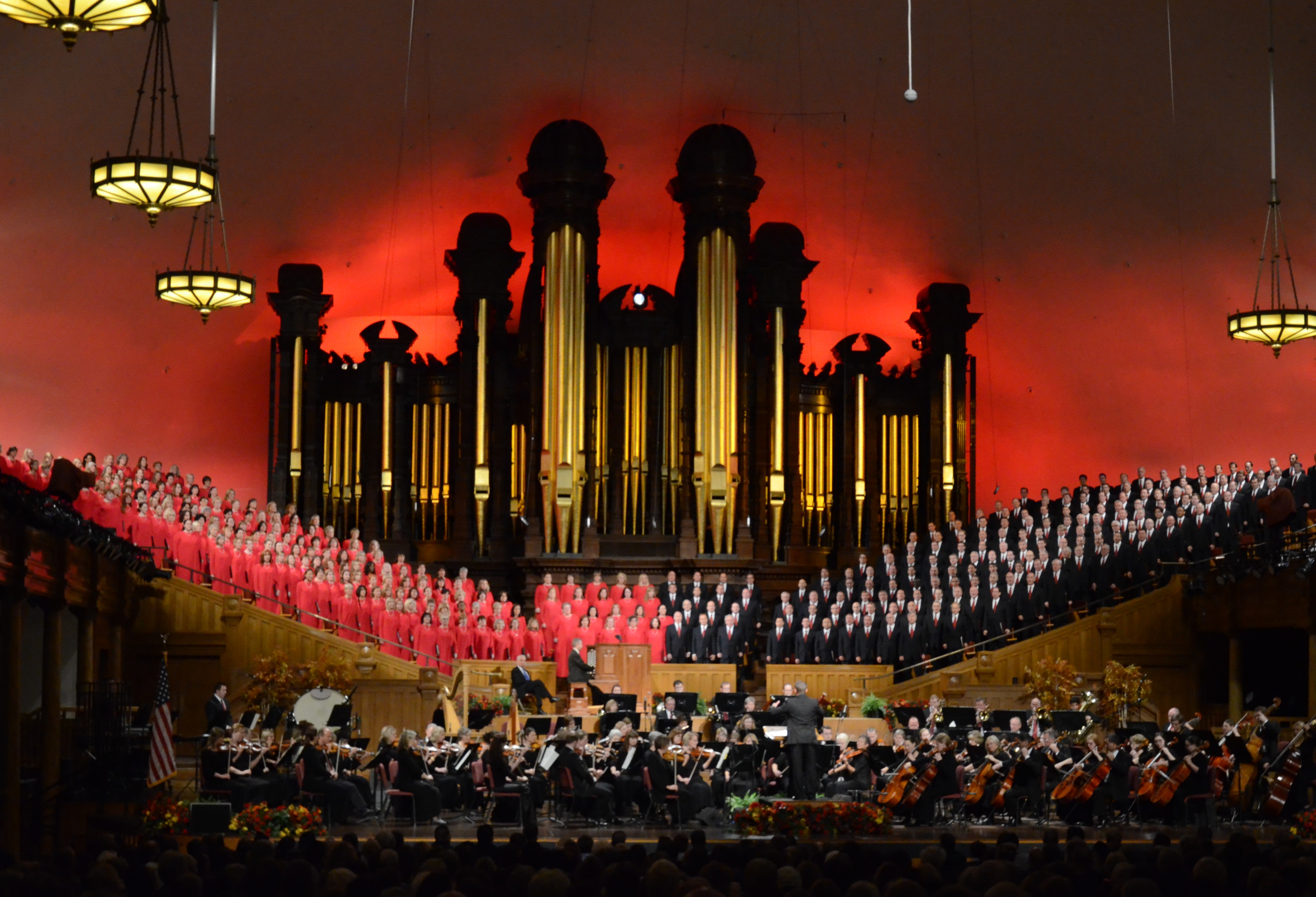 """The Tabernacle Choir and Orchestra at Temple Square perform on Oct. 29, 2015. On Sunday, July 14, the group performed a """"Music and the Spoken Word"""" program honoring the broadcast's 90th anniversary."""