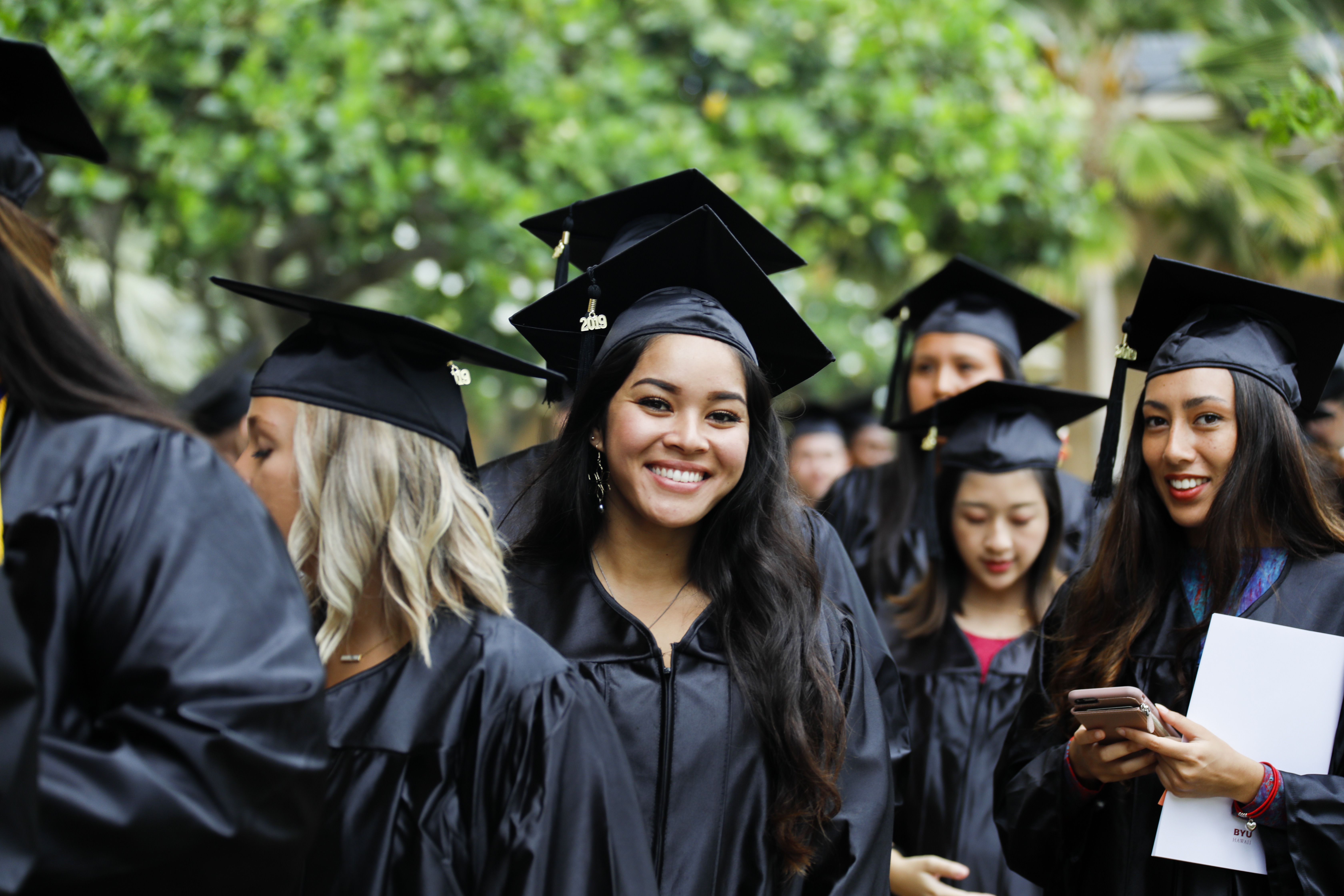 Graduating Brigham Young University-Hawaii students gather on June 29, 2019, for commencement.