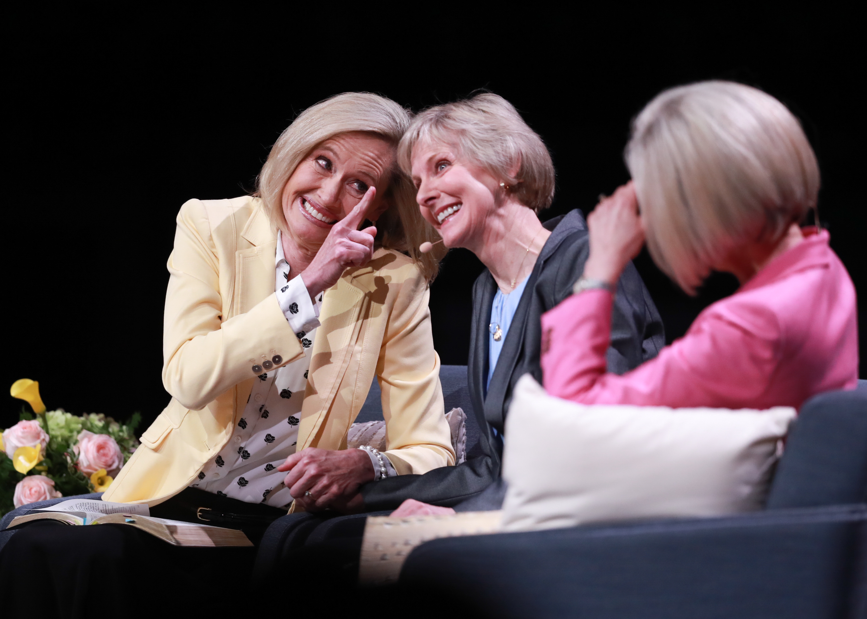 Sister Bonnie H. Cordon, Sister Jean B. Bingham and Sister Joy D. Jones participate in the first Sister-to-Sister event during the 2019 BYU Women's Conference, held in the Marriott Center at BYU in Provo, Utah, on May 3, 2019.