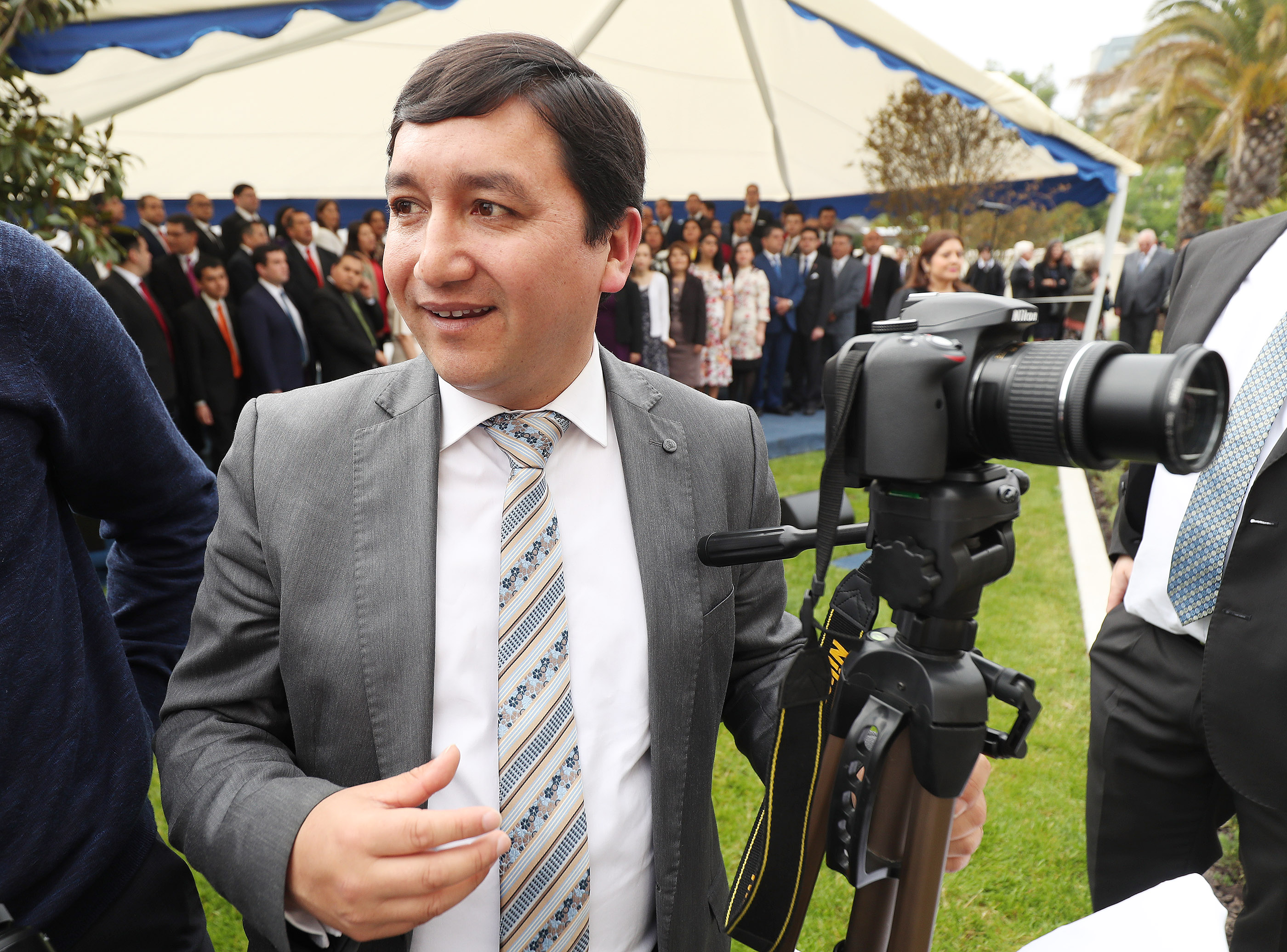 Journalist Jorge Valencia covers the cornerstone ceremony of the Concepcion Chile Temple on the day of its dedication on Sunday, Oct. 28, 2018, in Concepcion, Chile.