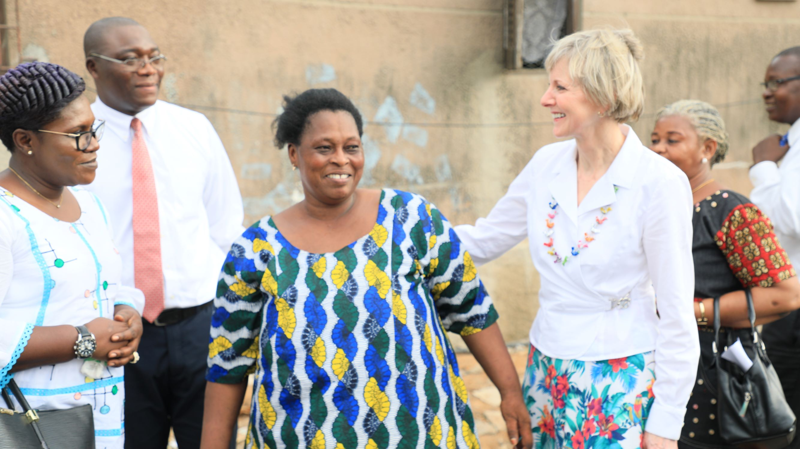 Latter-day Saint leaders in Abidjan, Côte d'Ivoire, accompany Sister Jean B. Bingham, Relief Society general president, on a home visit, Friday, March 8, 2019.