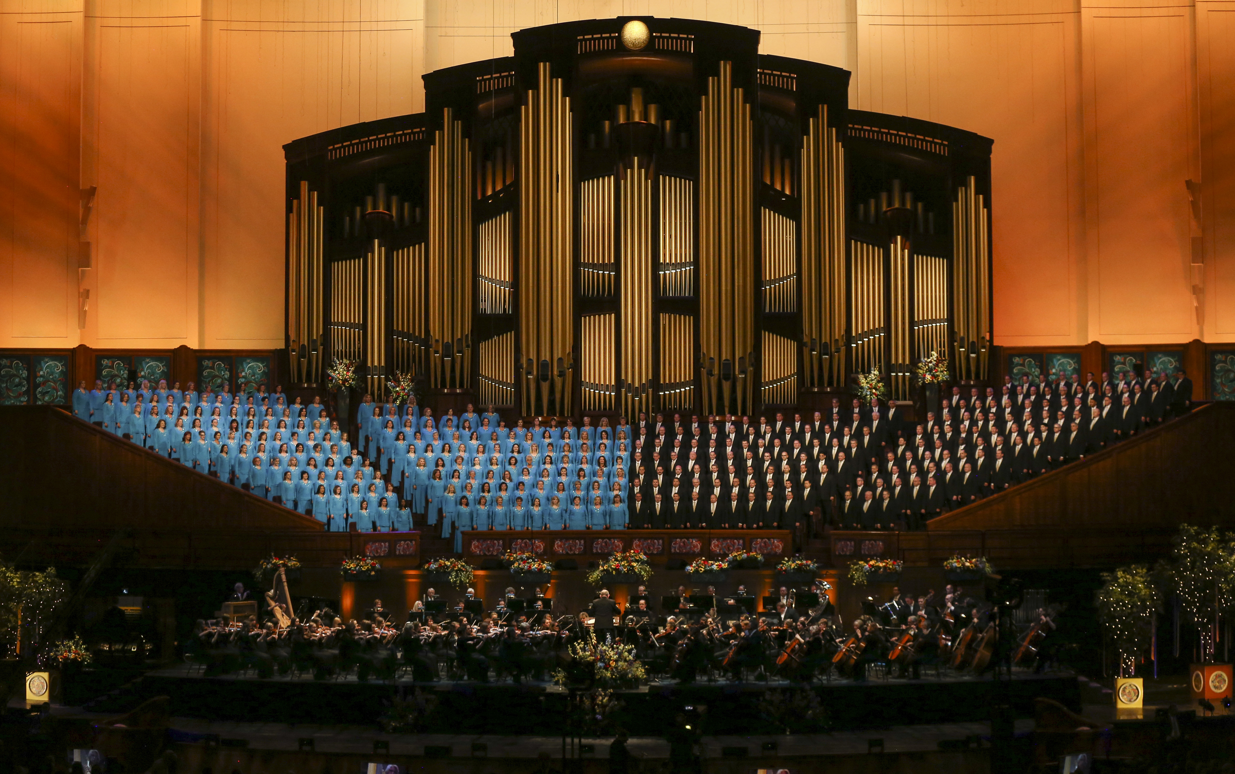 The Tabernacle Choir and Orchestra at Temple Square performs during the Pioneer Day concert at the Conference Center in Salt Lake City on Friday, July 19, 2019.