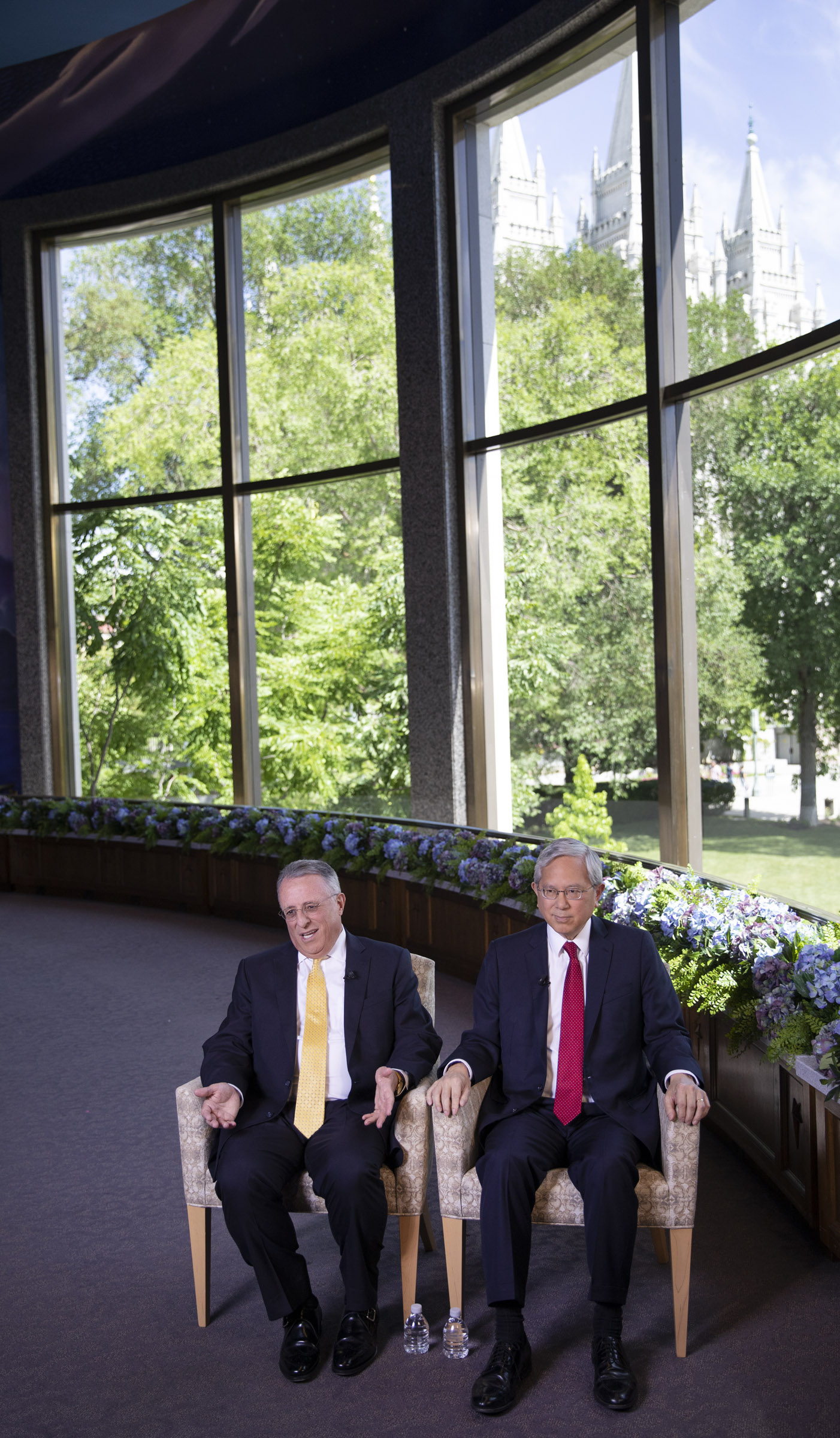 Elder Ulisses Soares, left, and Elder Gerrit W. Gong answer questions during an interview in the North Visitors Center on Temple Square in Salt Lake City on Thursday, June 28, 2018.