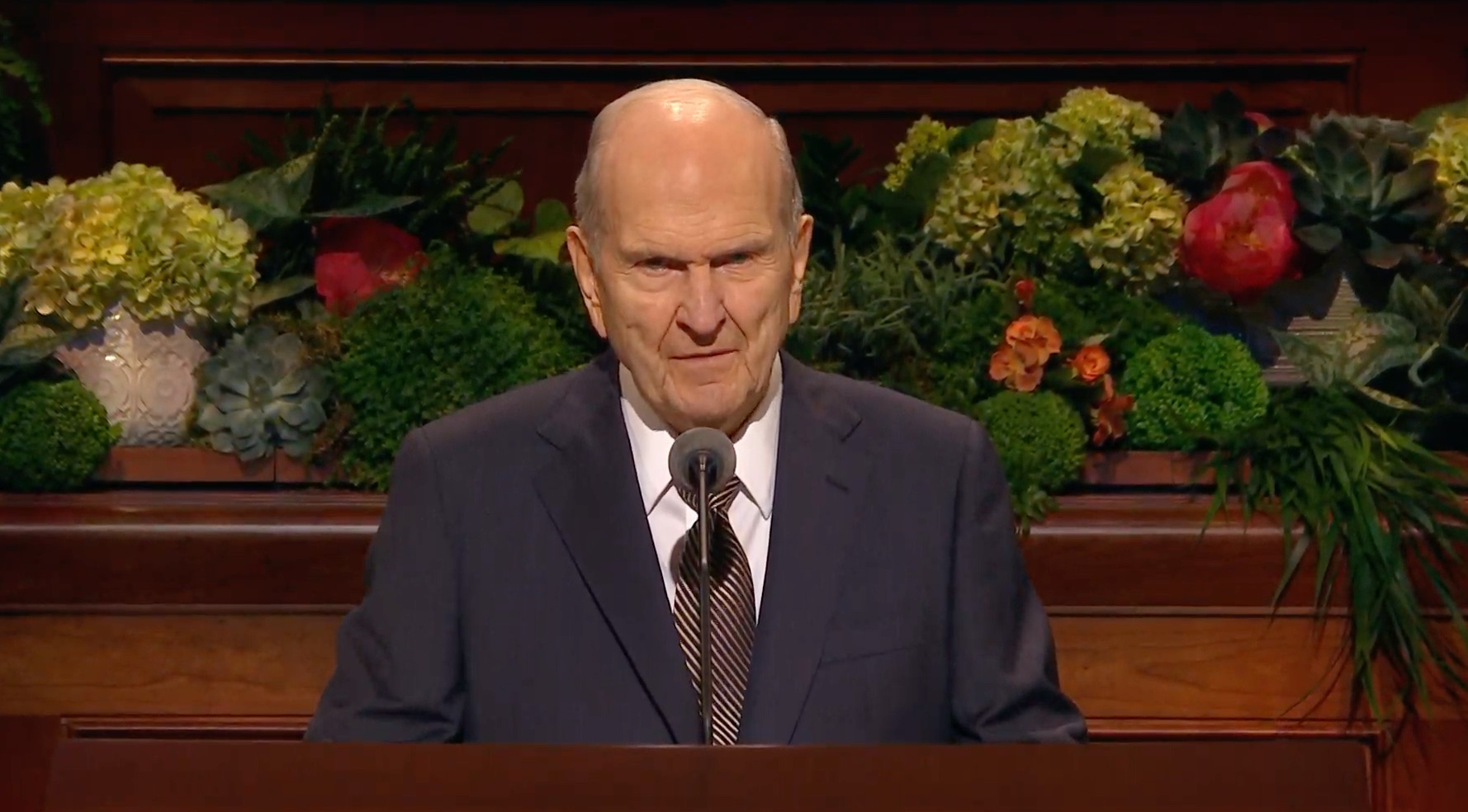 President Russell M. Nelson, president of The Church of Jesus Christ of Latter-day Saints, gives his address during the Sunday afternoon session of the 189th Annual General Conference on April 7, 2019.