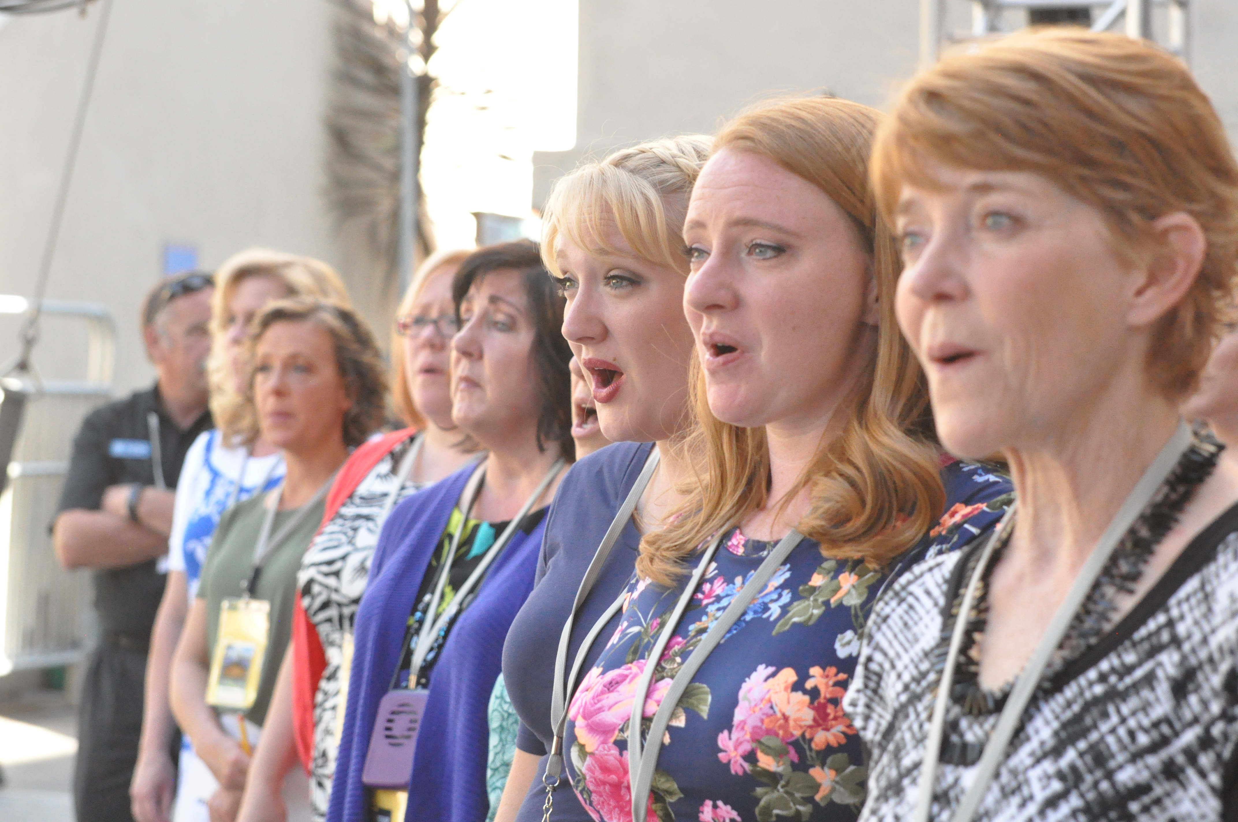 Female members of the Mormon Tabernacle Choir rehearse in Berkeley, California, during the ongoing 2018 Classic Coast Tour. Sunday, June 24, gave the touring performers an opportunity to worship together.
