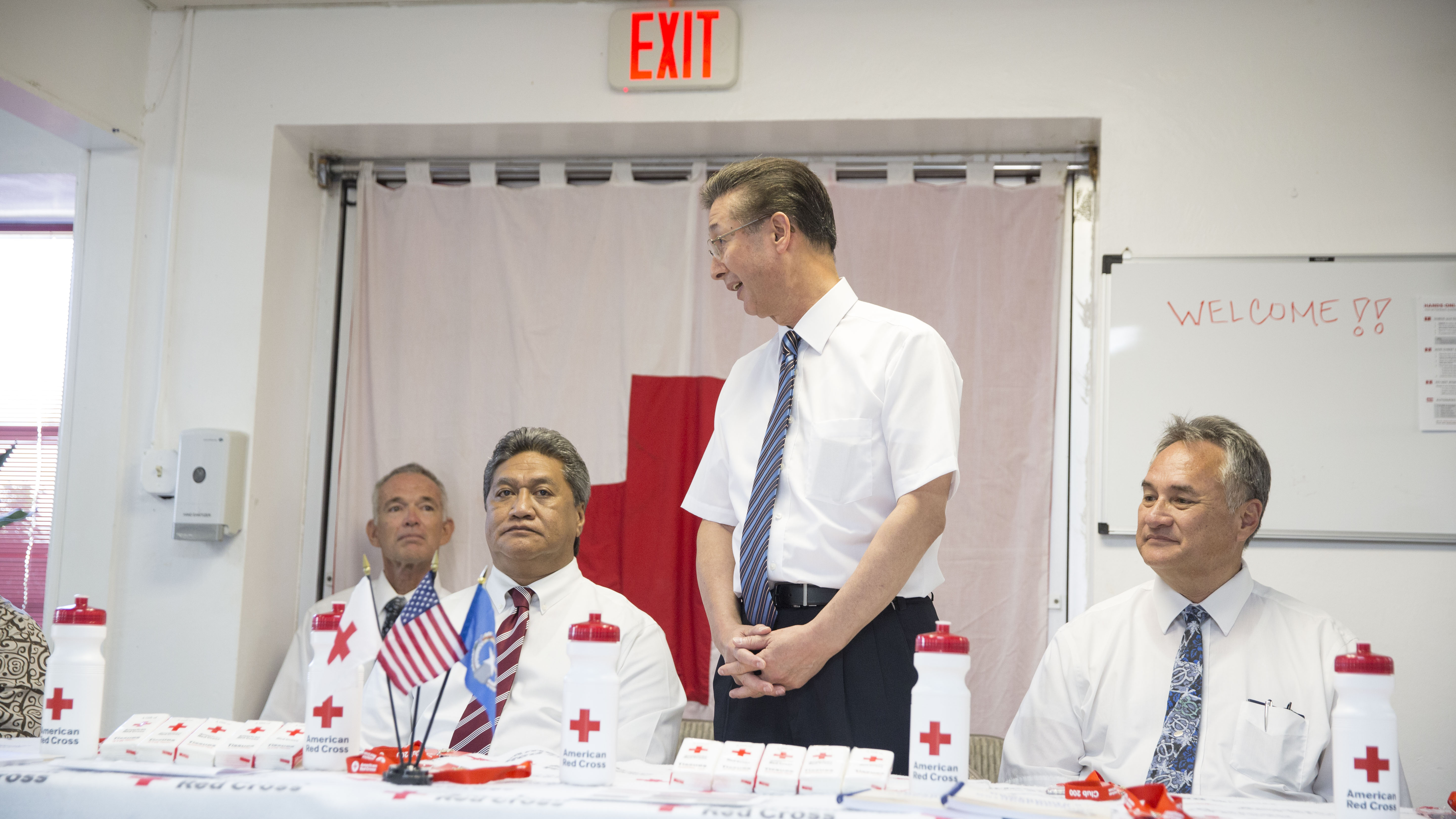 Area leaders of The Church of Jesus Christ of Latter-day Saints join with the Red Cross to discuss Typhoon Yutu recovery efforts with the media in Saipan, Thursday, Jan. 24, 2019. From left to right: Valrick Welch, Saipan Ward bishop; Diego Sablan of the Barrigada Guam Stake Presidency; Elder Kazuhiko Yamashita, Asia North Area presidency; and Elder Bill Davis, an Area Seventy.