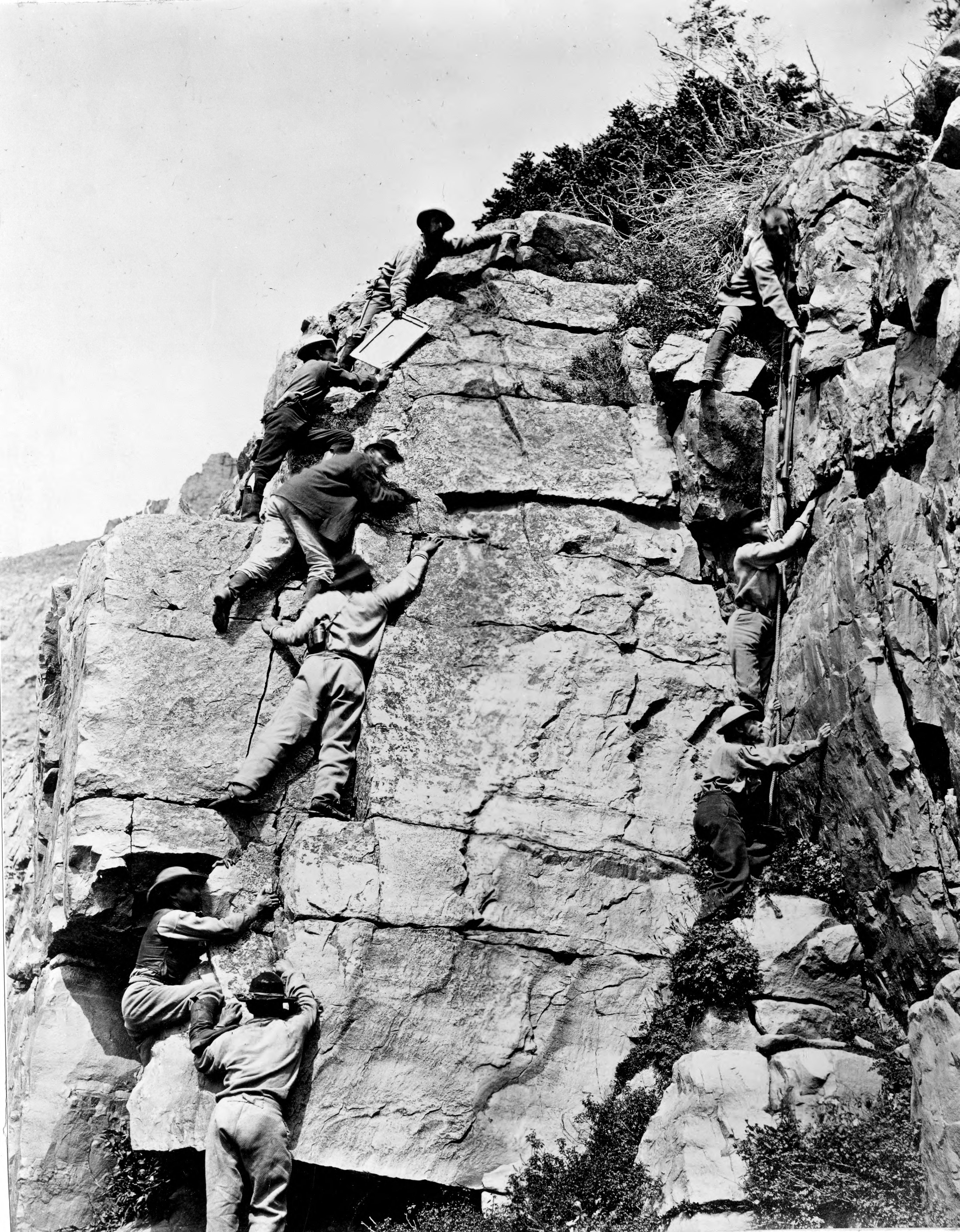 Latter-day Saints survey during construction of the transcontinental railroad in the Uintah Mountains of Utah for the Union Pacific Railroad.