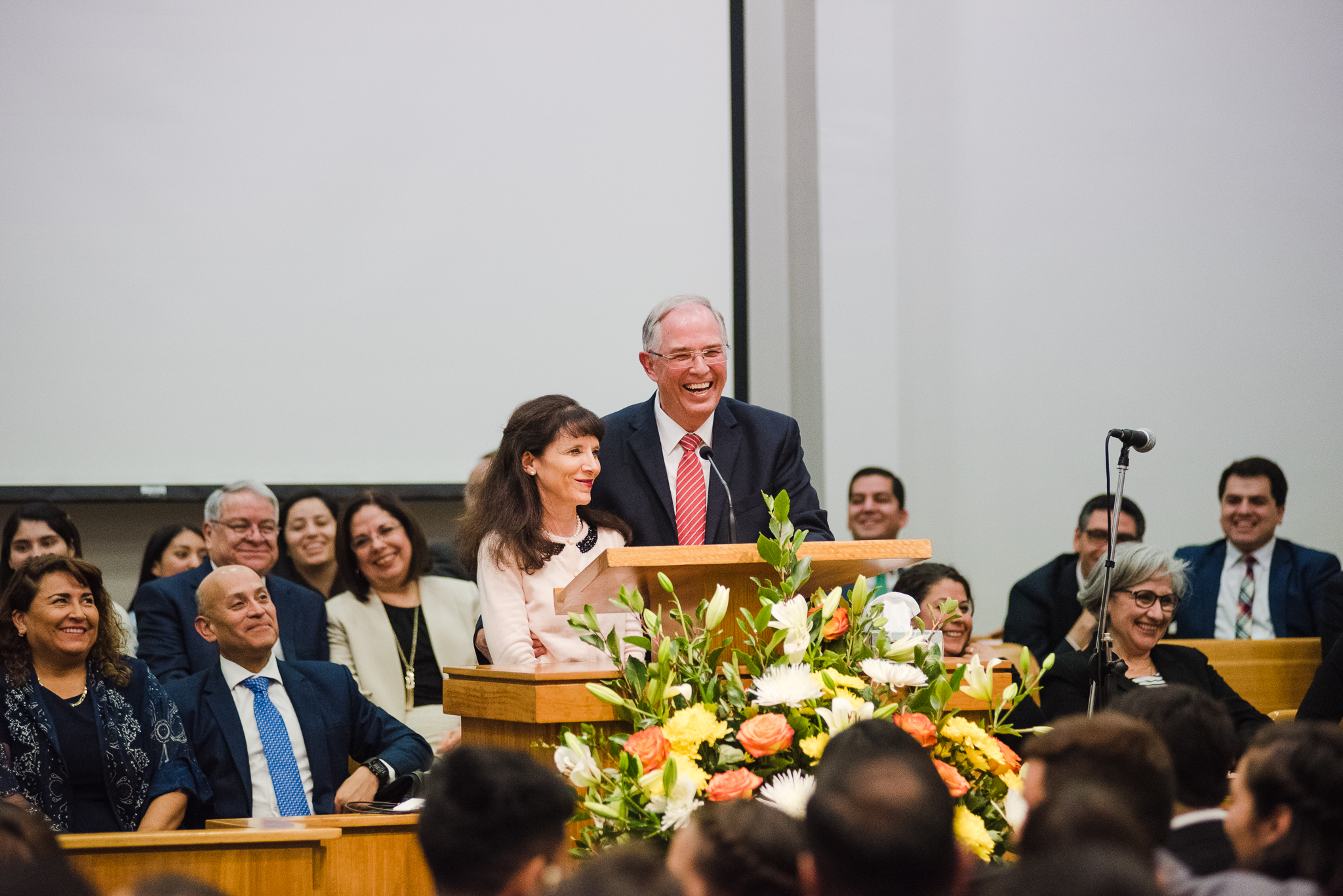 Elder Neil L. Andersen of the Quorum of the Twelve Apostles and Sister Kathy Andersen participate in devotional in Chile during an April 2019 trip to South America.