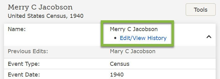 A FamilySearch screenshot example of an online edit of the indexed 1940 U.S. Census, correcting the name of Merry Christmas Jacobson.