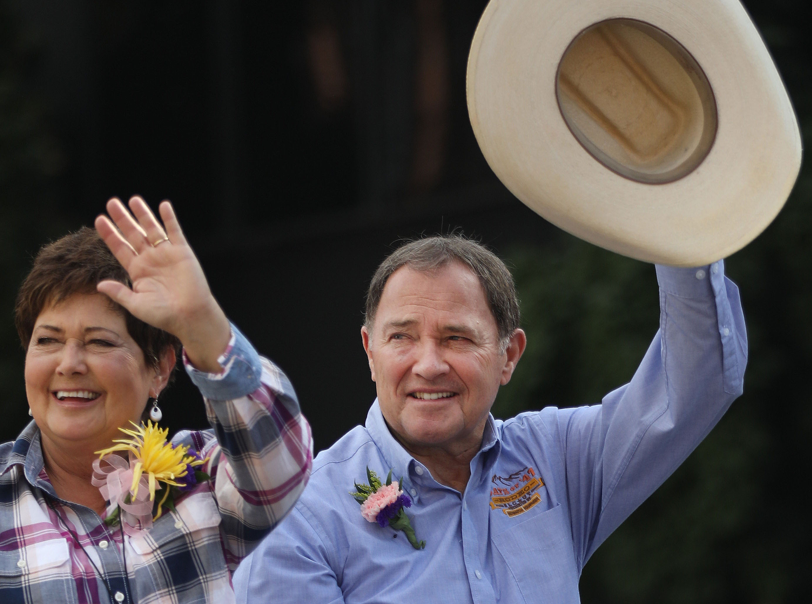 First Lady Jeanette Herbert and Gov. Gary Herbert pass by during the Days of '47 Parade in Salt Lake City on Wednesday, July 24, 2019.
