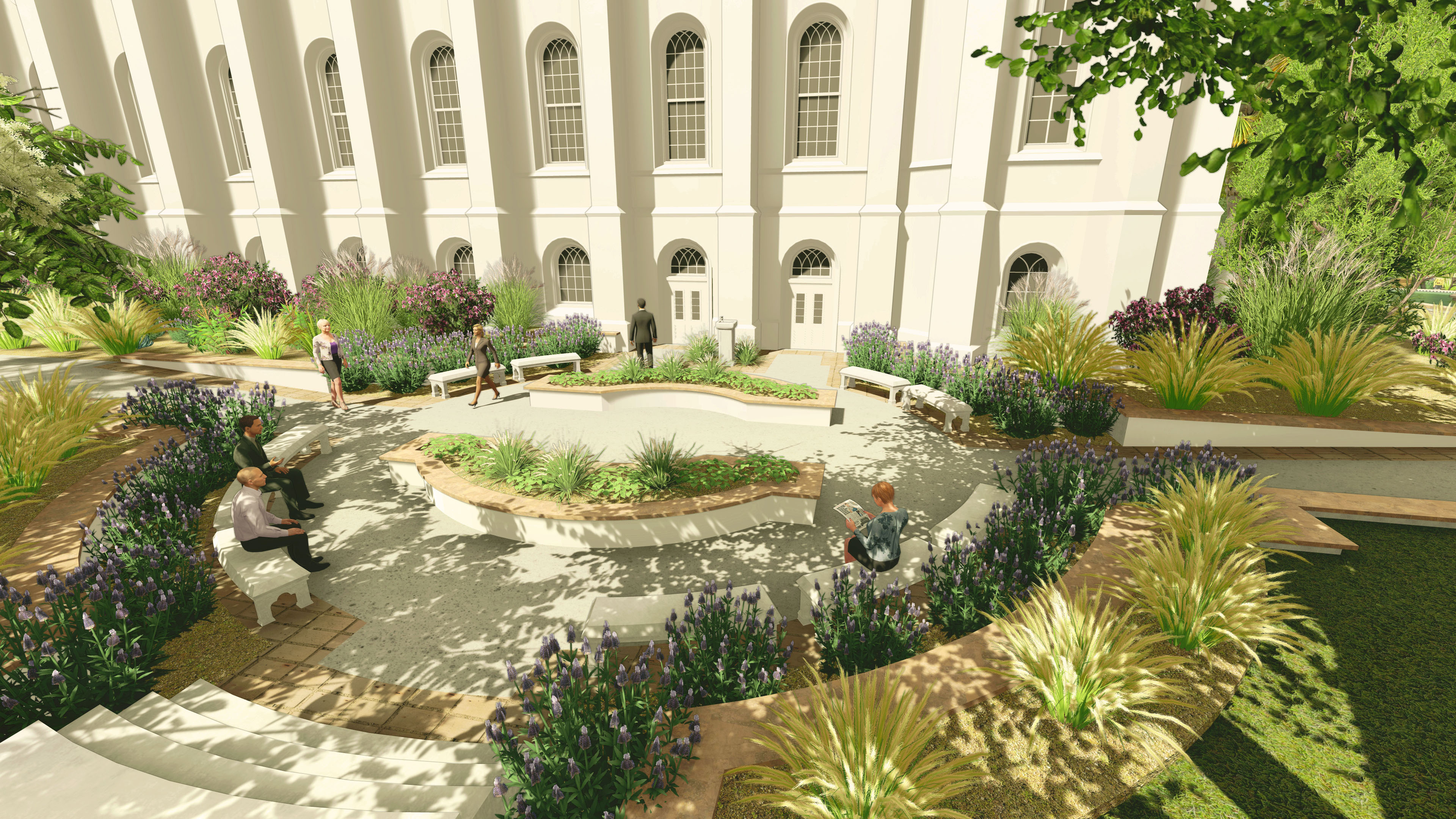 Rendering of the baptistry exit plaza at the St. George Utah Temple. The temple will close Nov. 4 for extensive renovations.