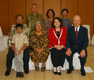 Elder Russell M. Nelson, far right, joined by his wife, Sister Wendy Nelson, meets with the four-generation Church member family of Hartoto and Nonne in Jakarta, Indonesia. Such families are indicative of the stability of the Church in that nation.