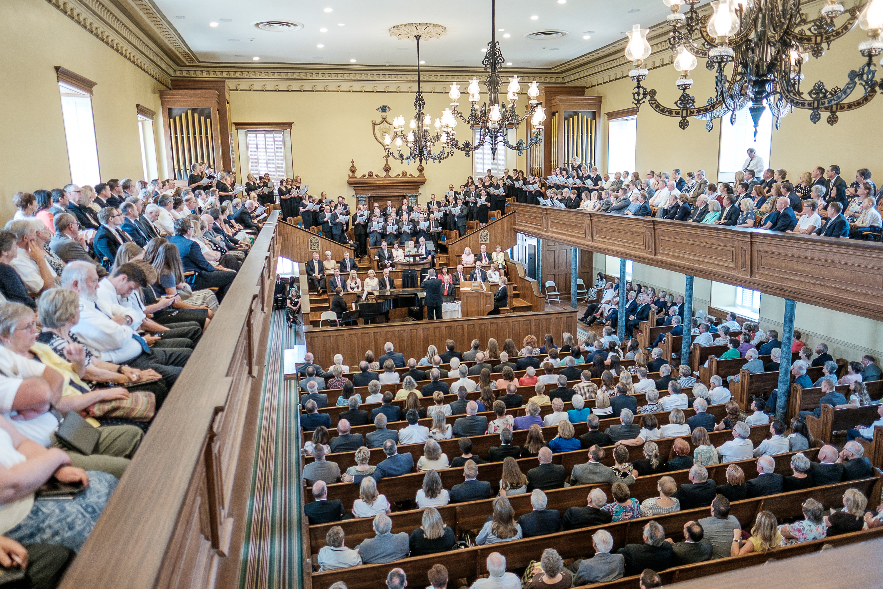Members of the St. George Utah Stake Choir, conducted by Dr. Ken Peterson, sing a hymn Saturday, July 28, 2018, at the St. George Tabernacle in St. George, Utah. The building was rededicated after a two-year renovation.