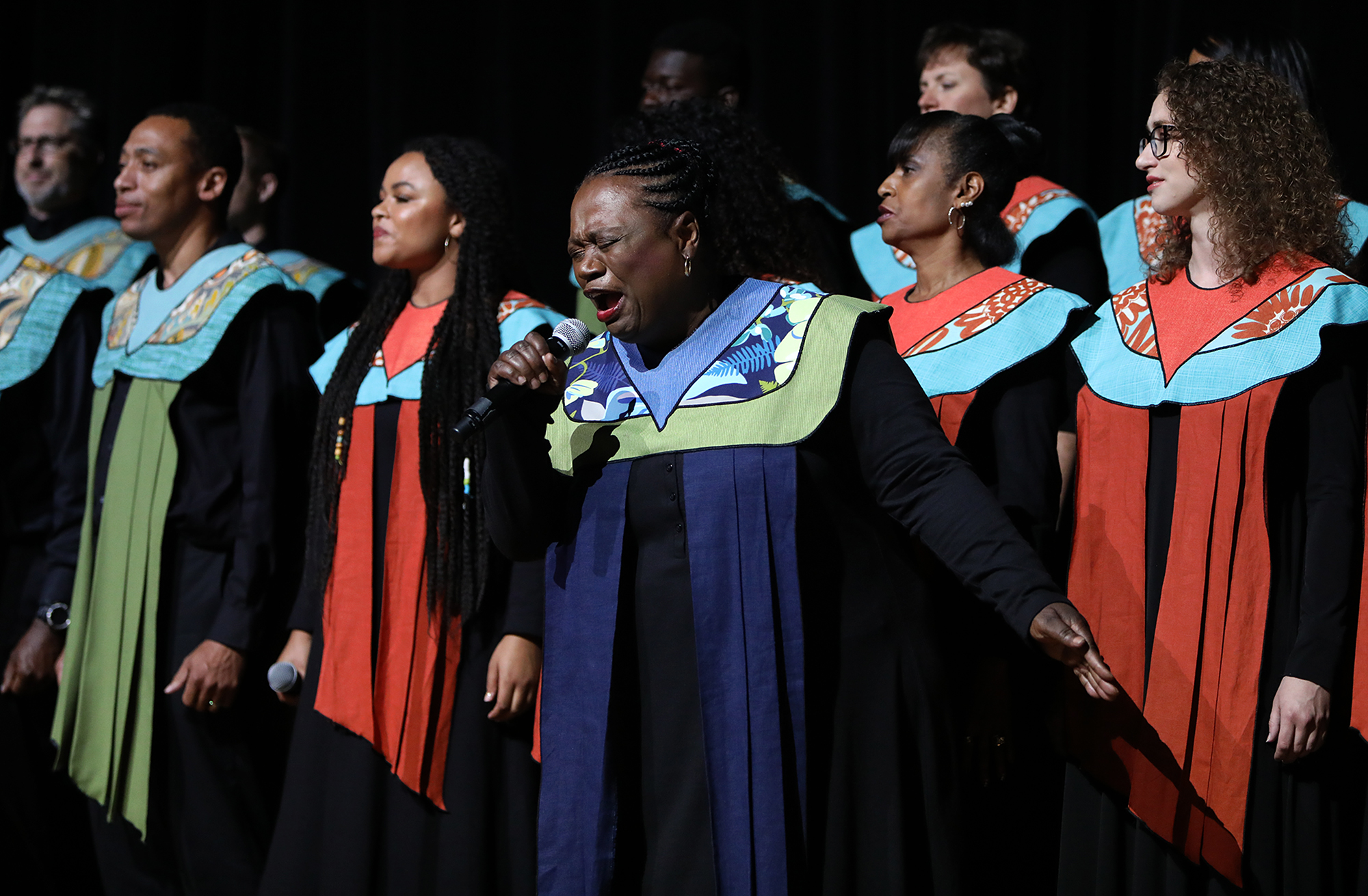Debra Bonner, center, performs with The Debra Bonner Unity Gospel Choir, an independent LDS choir, during the 109th NAACP Annual Convention at the Henry B. González Convention Center in San Antonio on Sunday, July 15, 2018.