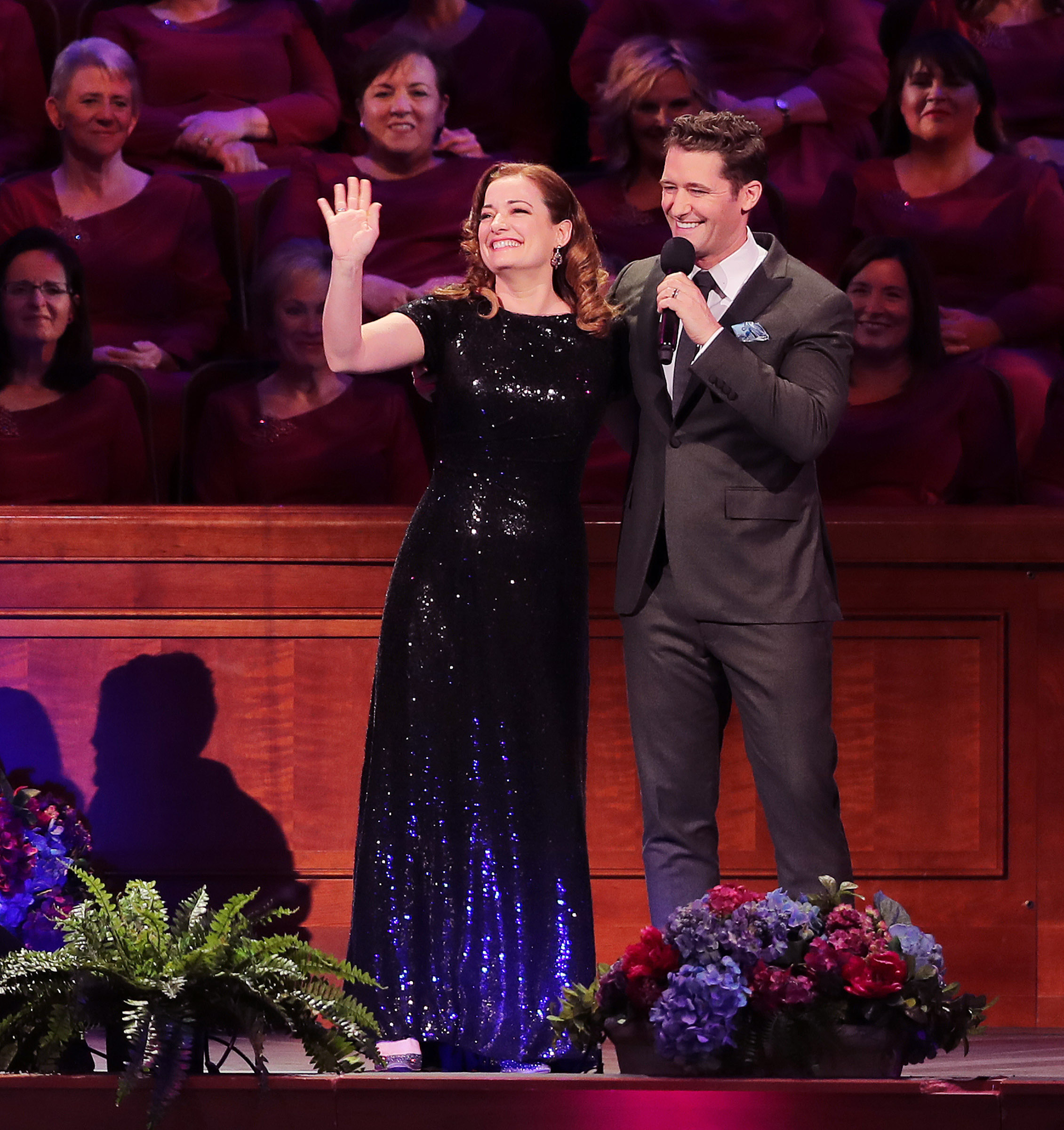 Guest performers Laura Michelle Kellythe and Matthew Morrison take the stage as they join the Mormon Tabernacle Choir and Orchestra at Temple Square for their annual Pioneer Concert at the Conference Center in Salt Lake City.
