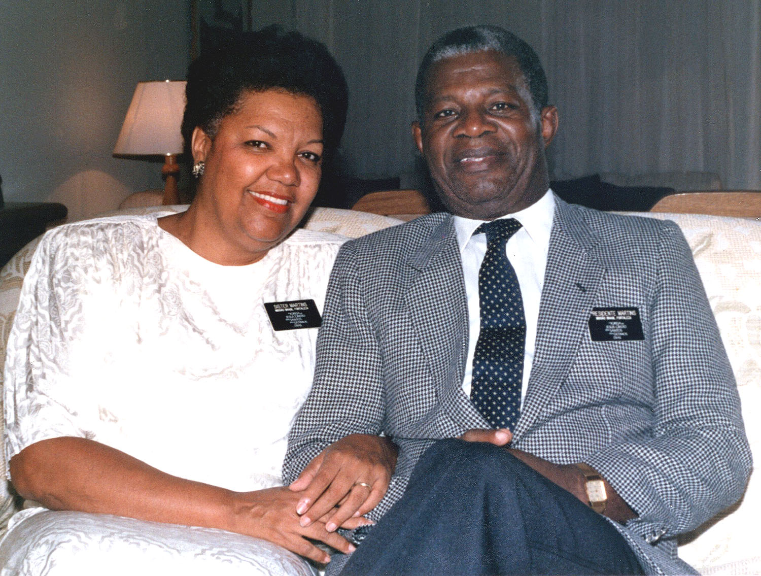 President Helvécio Martins and Sister Rudá Martins of the Brazil Fortaleza Mission in 1988. He presided over that mission from 1987 until his call in 1990 as a member of the Church's Second Quorum of the Seventy.