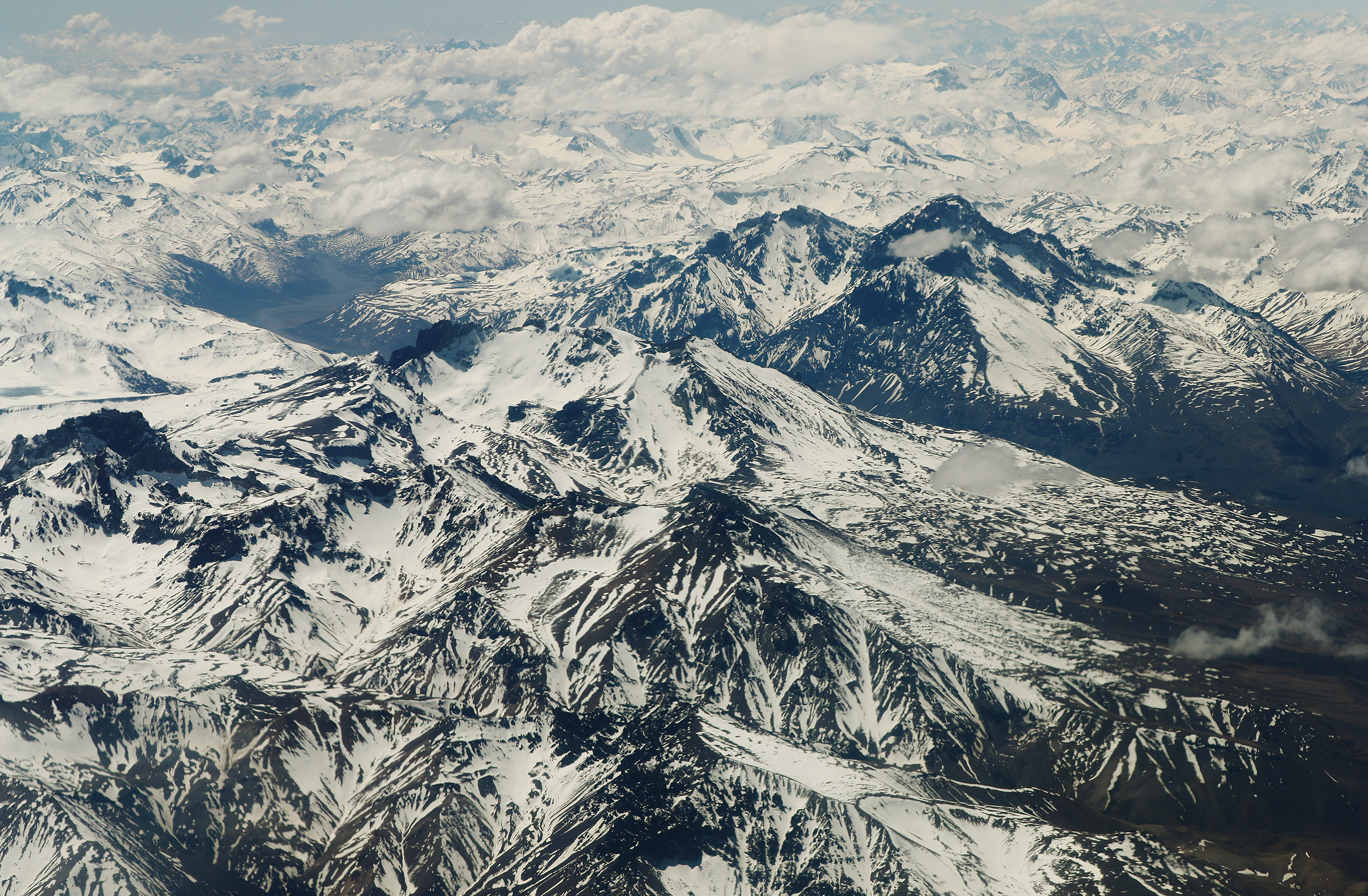 The Andes mountains are snow covered in Chile on Oct. 26, 2018.
