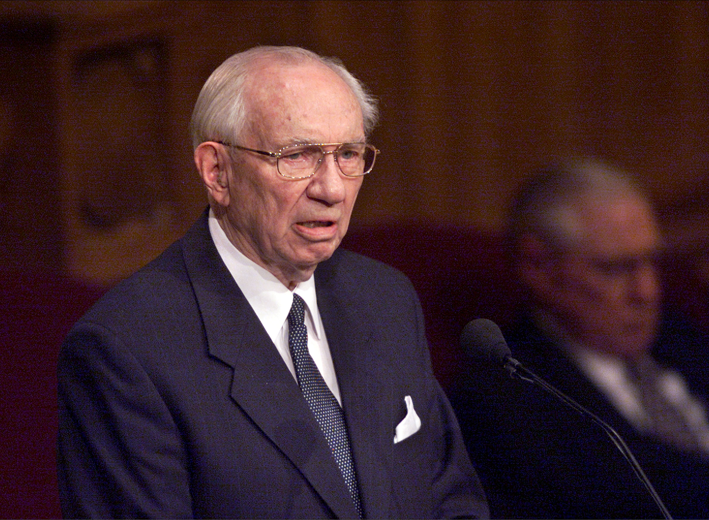 President Gordon B. Hinckley addresses the memorial service in honor of those who died in the terrorist attack on the United States Sept. 11, 2001.