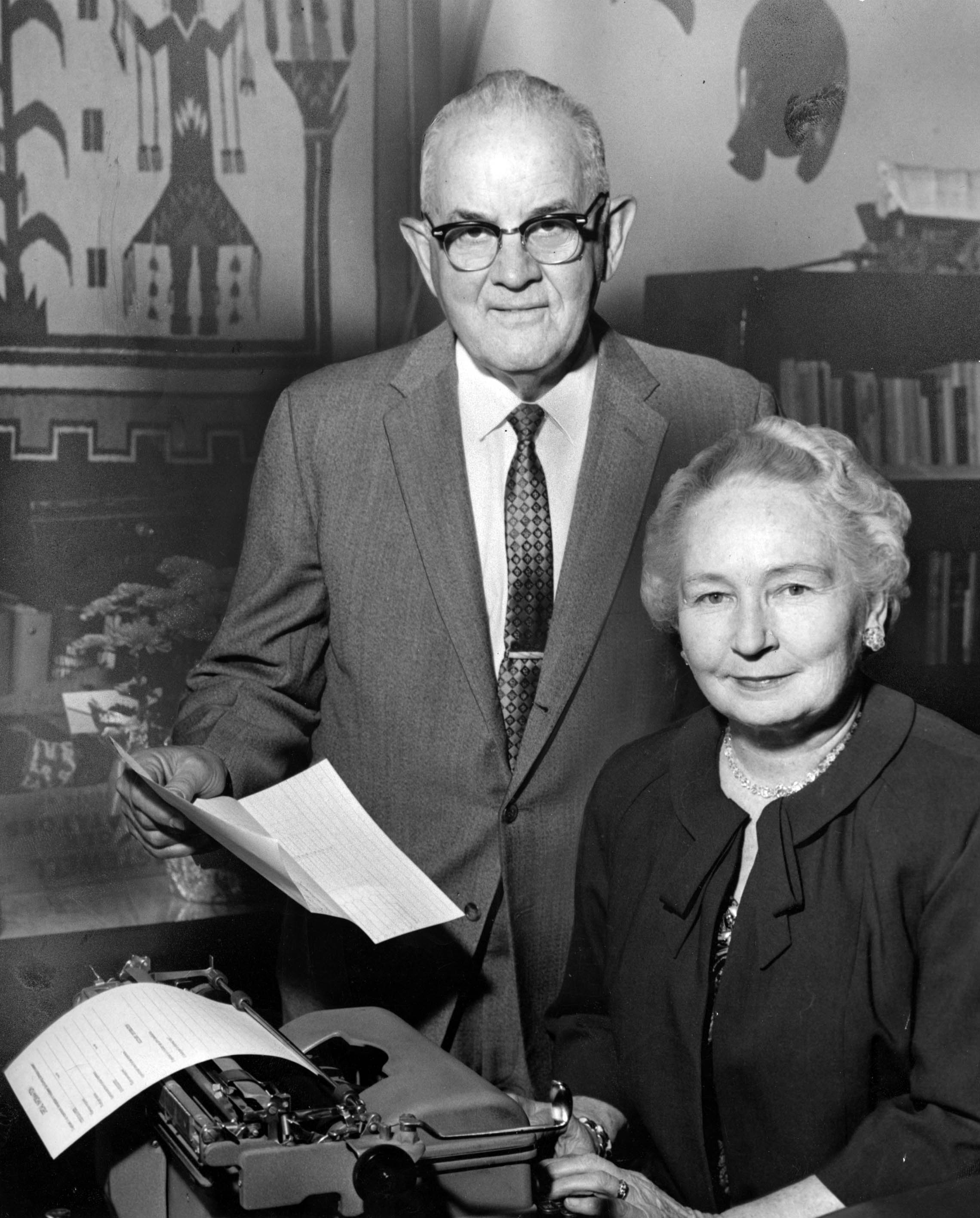 Elder Spencer W. Kimball and his wife, Sister Camilla Eyring Kimball, pose for a photo in their home in the 1960s, about 20 years after he was called to serve in the Quorum of the Twelve Apostles.