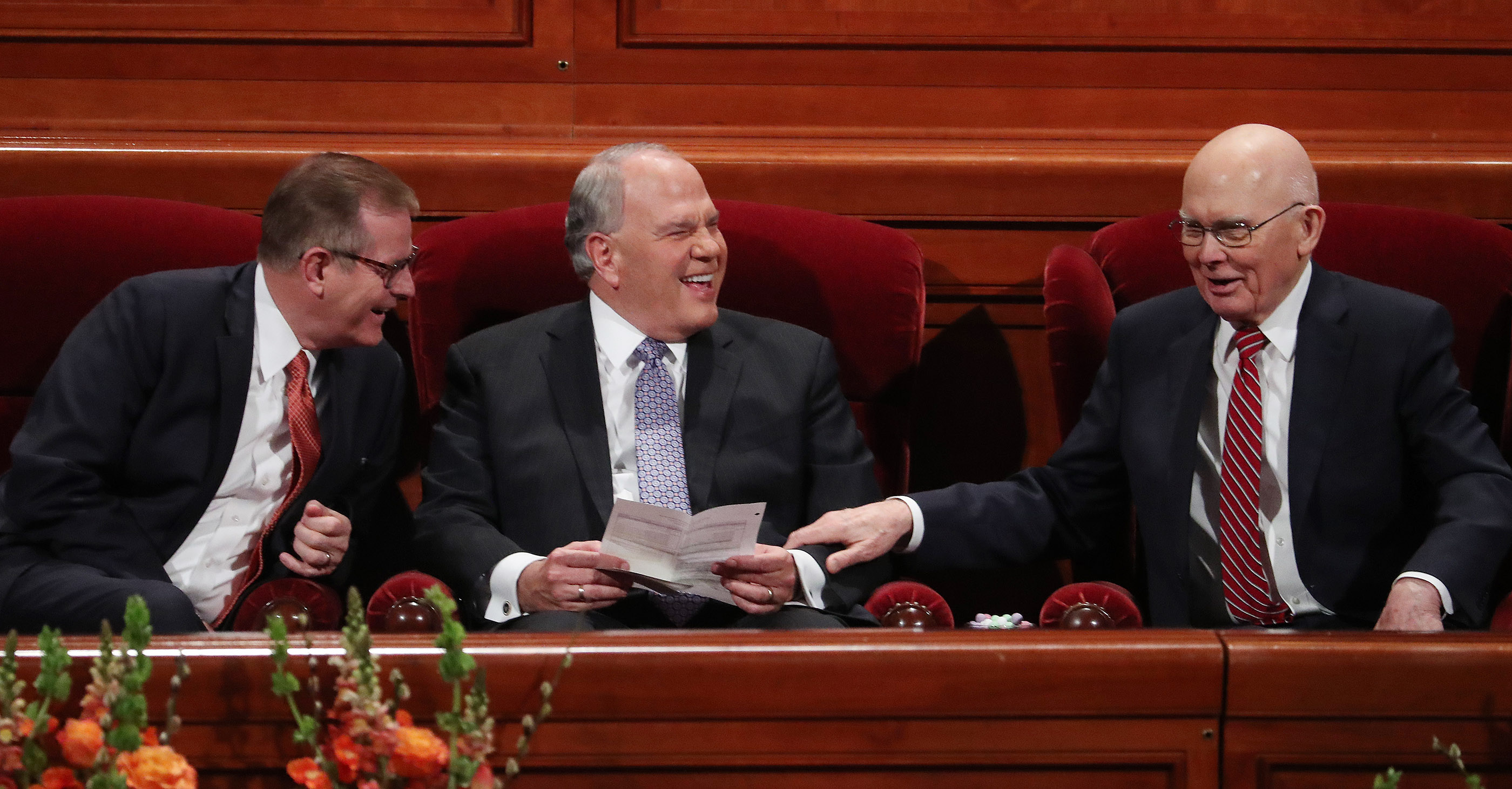 President Dallin H. Oaks, first counselor in the First Presidency, at right, talks with Elder Gary E. Stevenson, left, and Elder Ronald A. Rasband of the Twelve Apostles, prior to the concluding session of the 189th Annual General Conference of The Church of Jesus Christ of Latter-day Saints in Salt Lake City on Sunday, April 7, 2019.